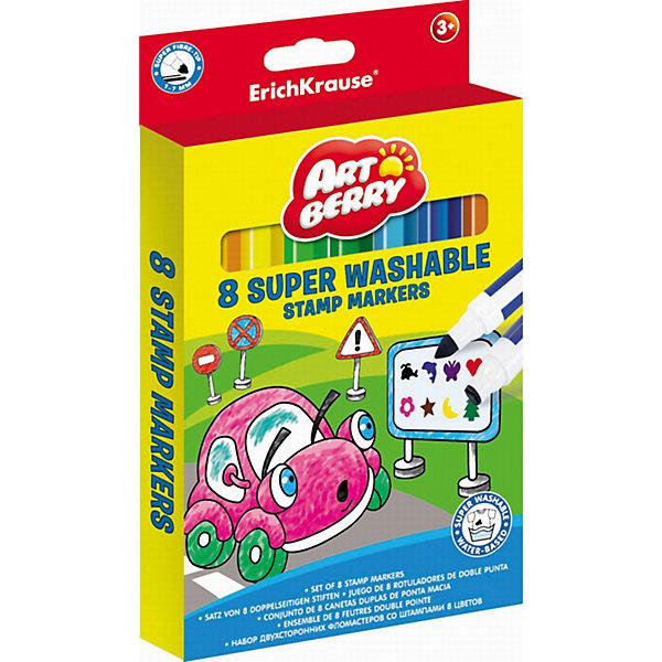 Двусторонние фломастеры со штампами (8 цветов), ArtberryФломастеры<br>Двусторонние фломастеры со штампами (8 цветов), Artberry(Артберри) специально разработаны для маленьких детей, которые увлекаются рисованием. Главное их достоинство – наконечник-штамп с различными изображениями для декорирования рисунка. С помощью штампов ребенок сможет дополнить свои рисунки, креативно украсить самодельную открытку или создать замечательный орнамент.<br><br>Характеристики:<br>-Яркие насыщенные цвета<br>-Наконечник-штамп для декорирования рисунка<br>-Безопасные чернила на водной основе легко смываются холодной водой, отстирываются с тканей и отмываются с бытовых поверхностей<br>-Вентилируемый колпачок, плотная заглушка<br>-Широкий наконечник конического типа позволяет варьировать толщину линии от 1 до 7 мм<br><br>Комплектация: 8 разноцветных фломастеров со штампами<br><br>Дополнительная информация:<br>-Вес в упаковке: 161 г<br>-Размеры в упаковке: 157х167х10 мм<br>-Материалы: пластик, картон, чернила<br><br>Подарите своему ребенку комплект из 8 фломастеров со штампами, и Вы будете удивлены, как много красивых рисунков и поделок он сумеет создать с их помощью!<br><br>Двусторонние фломастеры со штампами (8 цветов), Artberry (Артберри) можно купить в нашем магазине.<br><br>Ширина мм: 157<br>Глубина мм: 167<br>Высота мм: 10<br>Вес г: 161<br>Возраст от месяцев: 36<br>Возраст до месяцев: 144<br>Пол: Унисекс<br>Возраст: Детский<br>SKU: 4058300