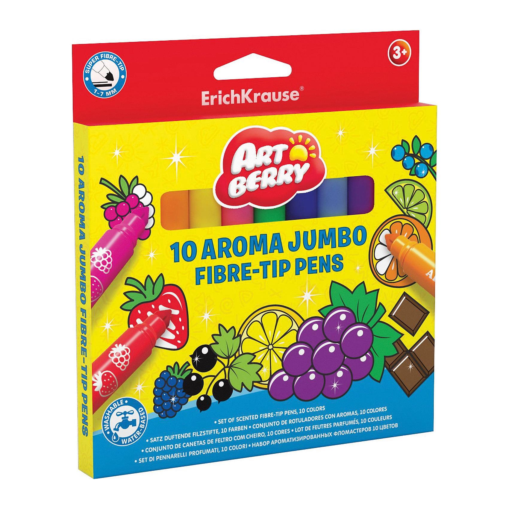 Ароматизированные фломастеры (10 цветов), ArtberryПисьменные принадлежности<br>Ароматизированные фломастеры (10 цветов), Artberry (Артберри) – очень удобный инструмент для детского творчества. Ими удобно раскрашивать книжки-раскраски или рисовать что-то свое. Благодаря специальным чернилам с добавлением пищевых ароматизаторов, эти маркеры имеют приятный фруктово-ягодный аромат. При рисовании ароматизированными фломастерами у ребенка развивается ассоциативное мышление, видение цвета через запах, развивается художественная фантазия. <br><br>Характеристики:<br>-Яркие насыщенные цвета<br>-Безопасные чернила на водной основе легко смываются холодной водой, отстирываются с тканей и отмываются с бытовых поверхностей<br>-Вентилируемый колпачок, плотная заглушка<br>-Широкий наконечник конического типа позволяет варьировать толщину линии от 1 до 7 мм<br>-Четкие контрастные линии<br><br>Комплектация: 10 разноцветных ароматизированных фломастеров <br><br>Дополнительная информация:<br>-Вес в упаковке: 178 г<br>-Размеры в упаковке: 167х154х10 мм<br>-Материалы: пластик, картон, чернила<br><br>Набор ароматизированных фломастеров станет отличным подарком, который доставит настоящую радость детям и откроет новые возможности для развития творческих способностей Вашего ребенка.<br><br>Ароматизированные фломастеры (10 цветов), Artberry (Артберри) можно купить в нашем магазине.<br><br>Ширина мм: 167<br>Глубина мм: 154<br>Высота мм: 10<br>Вес г: 178<br>Возраст от месяцев: 36<br>Возраст до месяцев: 144<br>Пол: Унисекс<br>Возраст: Детский<br>SKU: 4058301