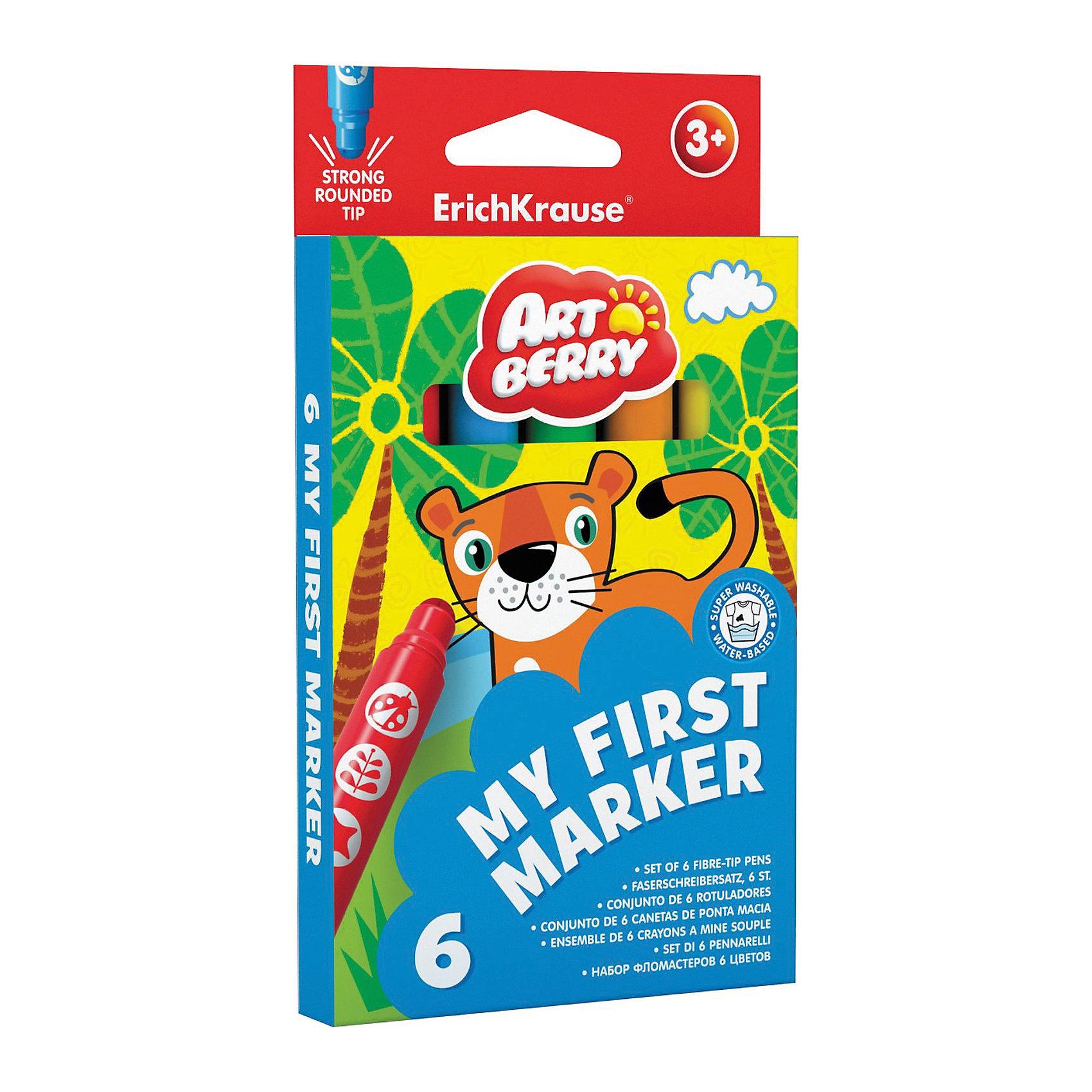 Закругленные фломастеры My First Marker (6 цветов), ArtberryЗакругленные фломастеры My First Marker (6 цветов), Artberry (Артберри) разработаны специально для малышей: утолщенный корпус фломастера позволяет маленькому ребёнку удобно держать его в руке, даже просто зажав в кулак. <br><br>Характеристики:<br>-Яркие насыщенные цвета<br>-Безопасные чернила на водной основе легко смываются холодной водой, отстирываются с тканей и отмываются с бытовых поверхностей<br>-Вентилируемый колпачок, плотная заглушка<br>-Четкие контрастные линии<br>-Ударопрочный широкий наконечник пишет под любым углом<br><br>Комплектация: 6 разноцветных фломастеров<br><br>Дополнительная информация:<br>-Вес в упаковке: 97 г<br>-Размеры в упаковке: 170х95х10 мм<br>-Материалы: пластик, картон, чернила<br><br>Набор закругленных фломастеров станет отличным подарком, который доставит настоящую радость детям и откроет возможности для развития творческих способностей Вашего ребенка.<br><br>Закругленные фломастеры My First Marker (6 цветов), Artberry (Артберри) можно купить в нашем магазине.<br><br>Ширина мм: 170<br>Глубина мм: 95<br>Высота мм: 10<br>Вес г: 97<br>Возраст от месяцев: 36<br>Возраст до месяцев: 144<br>Пол: Унисекс<br>Возраст: Детский<br>SKU: 4058302