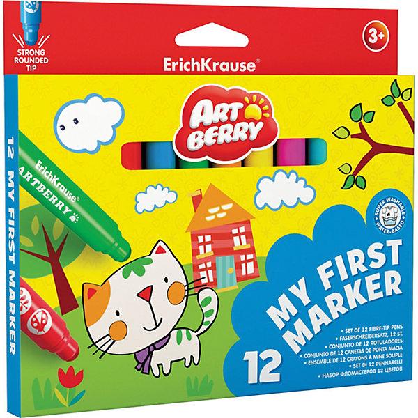 Закругленные фломастеры Мои первые фломастеры (12 цветов), ArtberryФломастеры<br>Закругленные фломастеры Мои первые фломастеры (12 цветов), Artberry (Артберри) разработаны специально для малышей: утолщенный корпус фломастера позволяет маленькому ребёнку удобно держать его в руке, даже просто зажав в кулак. <br><br>Характеристики:<br>-Яркие насыщенные цвета<br>-Безопасные чернила на водной основе легко смываются холодной водой, отстирываются с тканей и отмываются с бытовых поверхностей<br>-Вентилируемый колпачок, плотная заглушка<br>-Четкие контрастные линии<br>-Ударопрочный широкий наконечник пишет под любым углом<br><br>Комплектация: 12 разноцветных фломастеров<br><br>Дополнительная информация:<br>-Вес в упаковке: 190 г<br>-Размеры в упаковке: 170х190х10 мм<br>-Материалы: пластик, картон, чернила<br><br>Набор закругленных фломастеров станет отличным подарком, который доставит настоящую радость детям и откроет возможности для развития творческих способностей Вашего ребенка.<br><br>Закругленные фломастеры My First Marker (12 цветов), Artberry (Артберри) можно купить в нашем магазине.<br><br>Ширина мм: 170<br>Глубина мм: 190<br>Высота мм: 10<br>Вес г: 190<br>Возраст от месяцев: 36<br>Возраст до месяцев: 144<br>Пол: Унисекс<br>Возраст: Детский<br>SKU: 4058303