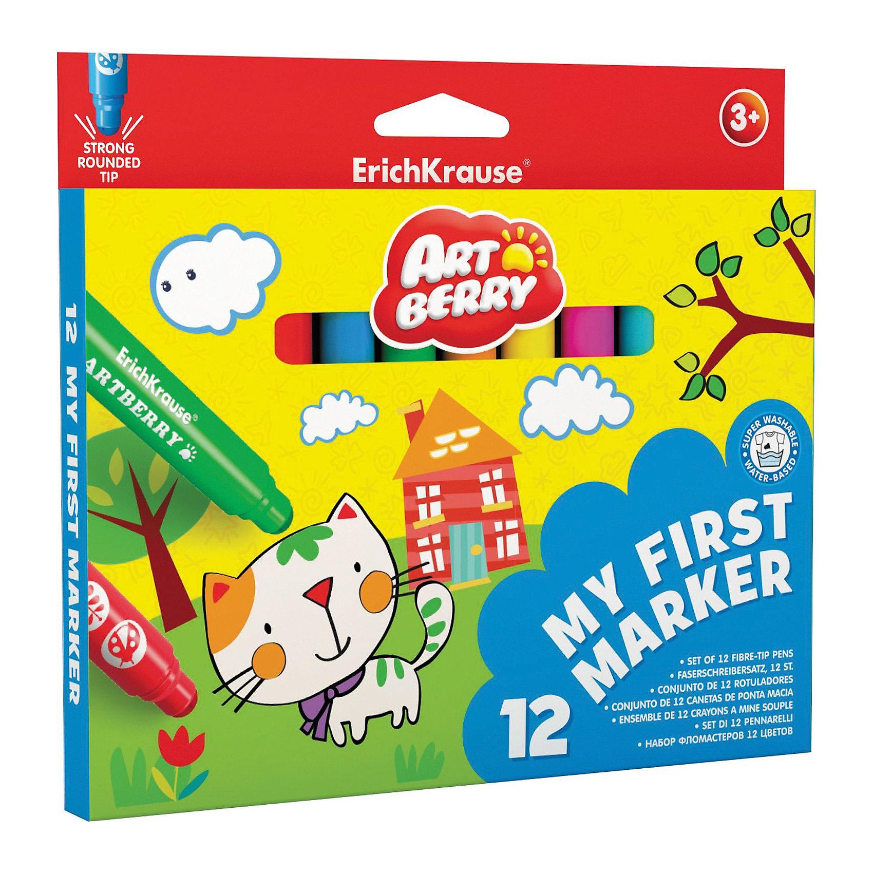 Закругленные фломастеры Мои первые фломастеры (12 цветов), ArtberryПисьменные принадлежности<br>Закругленные фломастеры Мои первые фломастеры (12 цветов), Artberry (Артберри) разработаны специально для малышей: утолщенный корпус фломастера позволяет маленькому ребёнку удобно держать его в руке, даже просто зажав в кулак. <br><br>Характеристики:<br>-Яркие насыщенные цвета<br>-Безопасные чернила на водной основе легко смываются холодной водой, отстирываются с тканей и отмываются с бытовых поверхностей<br>-Вентилируемый колпачок, плотная заглушка<br>-Четкие контрастные линии<br>-Ударопрочный широкий наконечник пишет под любым углом<br><br>Комплектация: 12 разноцветных фломастеров<br><br>Дополнительная информация:<br>-Вес в упаковке: 190 г<br>-Размеры в упаковке: 170х190х10 мм<br>-Материалы: пластик, картон, чернила<br><br>Набор закругленных фломастеров станет отличным подарком, который доставит настоящую радость детям и откроет возможности для развития творческих способностей Вашего ребенка.<br><br>Закругленные фломастеры My First Marker (12 цветов), Artberry (Артберри) можно купить в нашем магазине.<br><br>Ширина мм: 170<br>Глубина мм: 190<br>Высота мм: 10<br>Вес г: 190<br>Возраст от месяцев: 36<br>Возраст до месяцев: 144<br>Пол: Унисекс<br>Возраст: Детский<br>SKU: 4058303