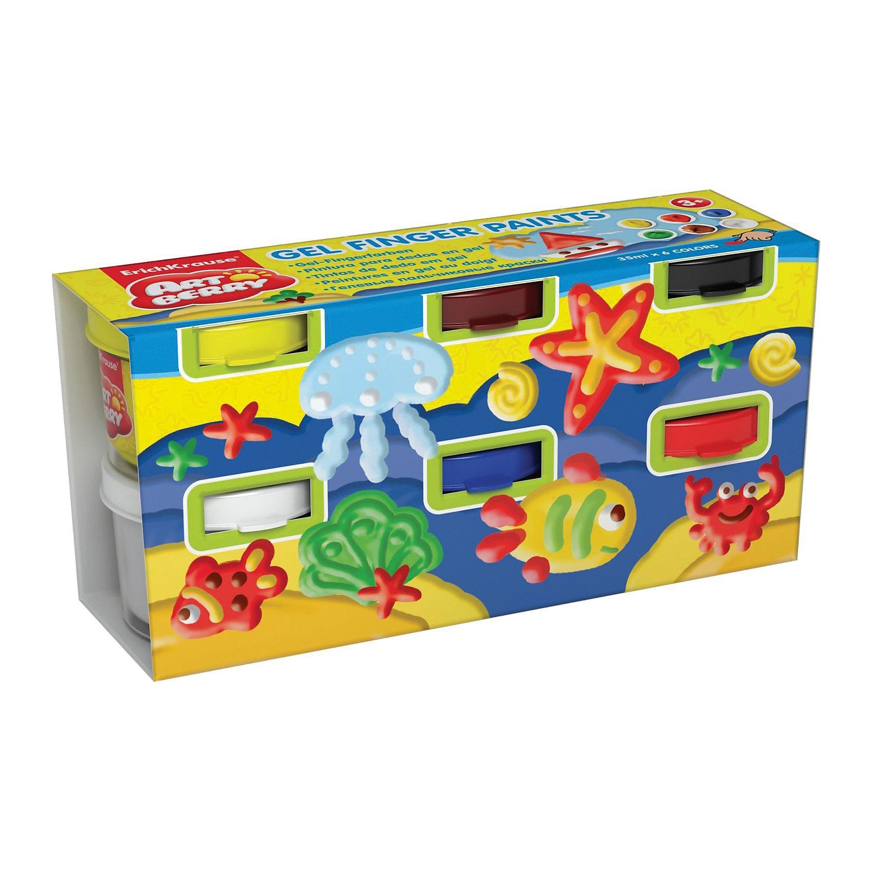 Пальчиковые краски (6 цветов по 35 мл), ArtberryПальчиковые краски (6 цветов по 35 мл), Artberry (Артберри) – лучшее средство для первого знакомства малыша с рисованием. Достаточно открыть банку и можно рисовать пальчиками, ладонями или даже ступнями ног. <br>В процессе рисования пальчиковыми красками ребенок научится различать и смешивать цвета, разовьет мелкую моторику и чувство осязания. Краски абсолютно безопасны для здоровья малыша, т.к. содержат в основе кукурузный крахмал, а в окраске – простые пищевые красители. Можно не волноваться, если ребенок в процессе рисования потянет пальчики в рот, в составе красок присутствует специальная добавка горького вкуса.<br><br>Характеристики:<br>-Краски на водной основе без труда отстирываются и смываются с рук, любых тканей и поверхностей <br>-Пальчиковые краски развивают мелкую моторику, цветовосприятие, фантазию и координацию движений<br>-Безопасные краски на водной основе имеют в составе пищевые красители, не содержат вредные компоненты<br>-Плотная гелевая структура краски не позволяет ей растекаться, если баночка случайно упадет<br>-Яркие сочные цвета<br><br>Комплектация: 6 баночек разноцветных красок по 35 мл<br><br>Дополнительная информация:<br>-Вес в упаковке: 357 г<br>-Размеры в упаковке: 148х43х72 мм<br>-Материалы: пластик, пищевые красители, крахмал<br><br>Набор пальчиковых красок станет отличным подарком, который будет способствовать раннему развитию творческих способностей Вашего малыша!<br><br>Пальчиковые краски (6 цветов по 35 мл), Artberry (Артберри) можно купить в нашем магазине.<br><br>Ширина мм: 148<br>Глубина мм: 43<br>Высота мм: 72<br>Вес г: 357<br>Возраст от месяцев: 36<br>Возраст до месяцев: 48<br>Пол: Унисекс<br>Возраст: Детский<br>SKU: 4058304