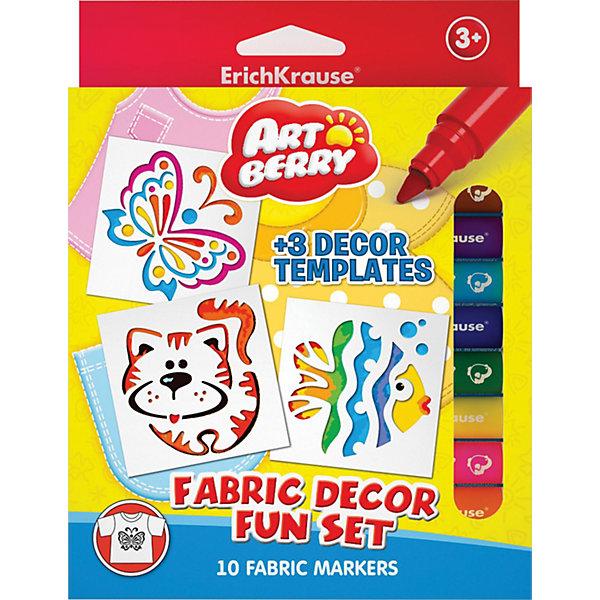 Набор для ткани (10 цветов, 3 трафарета), ArtberryНаборы для раскрашивания<br>Набор для ткани (10 цветов, 3 трафарета), Artberry (Артберри) прекрасно подойдут для декорирования тканей и одежды. Достаточно лишь нарисовать желаемый рисунок с помощью разноцветных фломастеров и трафаретов. Специальные суперстойкие чернила равномерно ложатся на ткань, не расплываются, позволяя создавать красивый и четкий рисунок. Теплового воздействия не нужно!<br><br>Характеристики:<br>-Рисунок выдерживает неоднократную стирку при 30 градусов<br>-Яркие насыщенные цвета<br>-Чернила легко смываются с рук<br>-Вентилируемый колпачок, плотная заглушка<br><br>Комплектация: 10 разноцветных фломастеров, 3 трафарета (кот, рыбка, бабочка)<br><br>Дополнительная информация:<br>-Вес в упаковке: 164 г<br>-Размеры в упаковке: 185х140х10 мм<br>-Длина фломастера: 13,5 см<br>-Размер трафарета: 11,5х10 см<br>-Материалы: пластик, картон, чернила<br><br>Набор фломастеров для рисования по ткани – отличный подарок для тех, кто хочет создать вещи своего собственного дизайна!<br><br>Набор для ткани (10 цветов, 3 трафарета), Artberry (Артберри) можно купить в нашем магазине.<br><br>Ширина мм: 185<br>Глубина мм: 140<br>Высота мм: 10<br>Вес г: 164<br>Возраст от месяцев: 36<br>Возраст до месяцев: 144<br>Пол: Унисекс<br>Возраст: Детский<br>SKU: 4058305