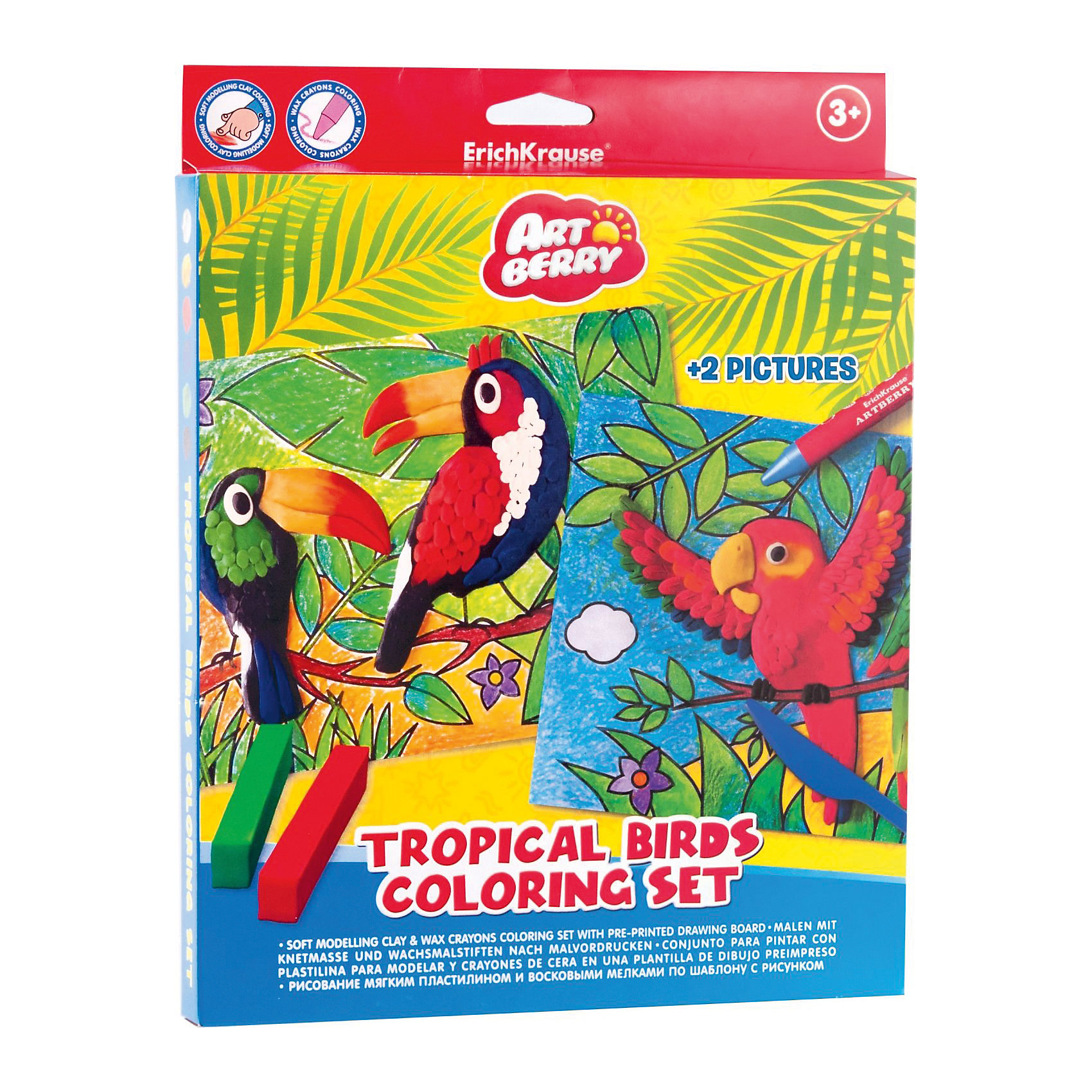 Набор для творчества Тропические птицы (16 предметов), ArtberryЛепка<br>Лепка и рисование с Набором для творчества Тропические птицы (16 предметов), Artberry (Артберри) доставит большое удовольствие Вашему ребенку, а кроме того, с помощью набора он будет развивать мелкую моторику, объемное воображение, творческие способности умение доводить начатое до конца. Набор отлично подойдет для детей, которые уже умеют рисовать и лепить, но хотят научиться совмещать различные техники рисования и лепки. Основа рисунка выполняется восковыми мелками, а детали и элементы картинки прорисовываются мягким пластилином, который обладает хорошей пластичностью и легко ложится на заготовки рисунков тропических птиц. <br><br>Характеристики:<br>-Пластилин безопасен, не прилипает к рукам, не пачкает одежду<br>-Пластилин не застывает на воздухе<br>-Яркие цвета пластилина легко смешиваются между собой<br>-Восковые мелки обеспечивают мягкое письмо, обладают отличными кроющими свойствами<br>-Восковые мелки нетоксичны и безопасны<br><br>Комплектация: 8 цветных восковых мелков, 6 цветных брусочков пластилина, 2 шаблона с контурами рисунка<br><br>Дополнительная информация:<br>-Вес в упаковке: 272 г<br>-Размеры в упаковке: 330х230х10 мм<br>-Материалы: пластилин, краски, пластмасса<br><br>Такой творческий набор станет отличным подарком, который доставит настоящую радость детям и откроет новые горизонты для творчества Вашего ребенка!<br><br>Набор для творчества Тропические птицы (16 предметов), Artberry (Артберри) можно купить в нашем магазине.<br><br>Ширина мм: 330<br>Глубина мм: 230<br>Высота мм: 10<br>Вес г: 272<br>Возраст от месяцев: 36<br>Возраст до месяцев: 144<br>Пол: Унисекс<br>Возраст: Детский<br>SKU: 4058308