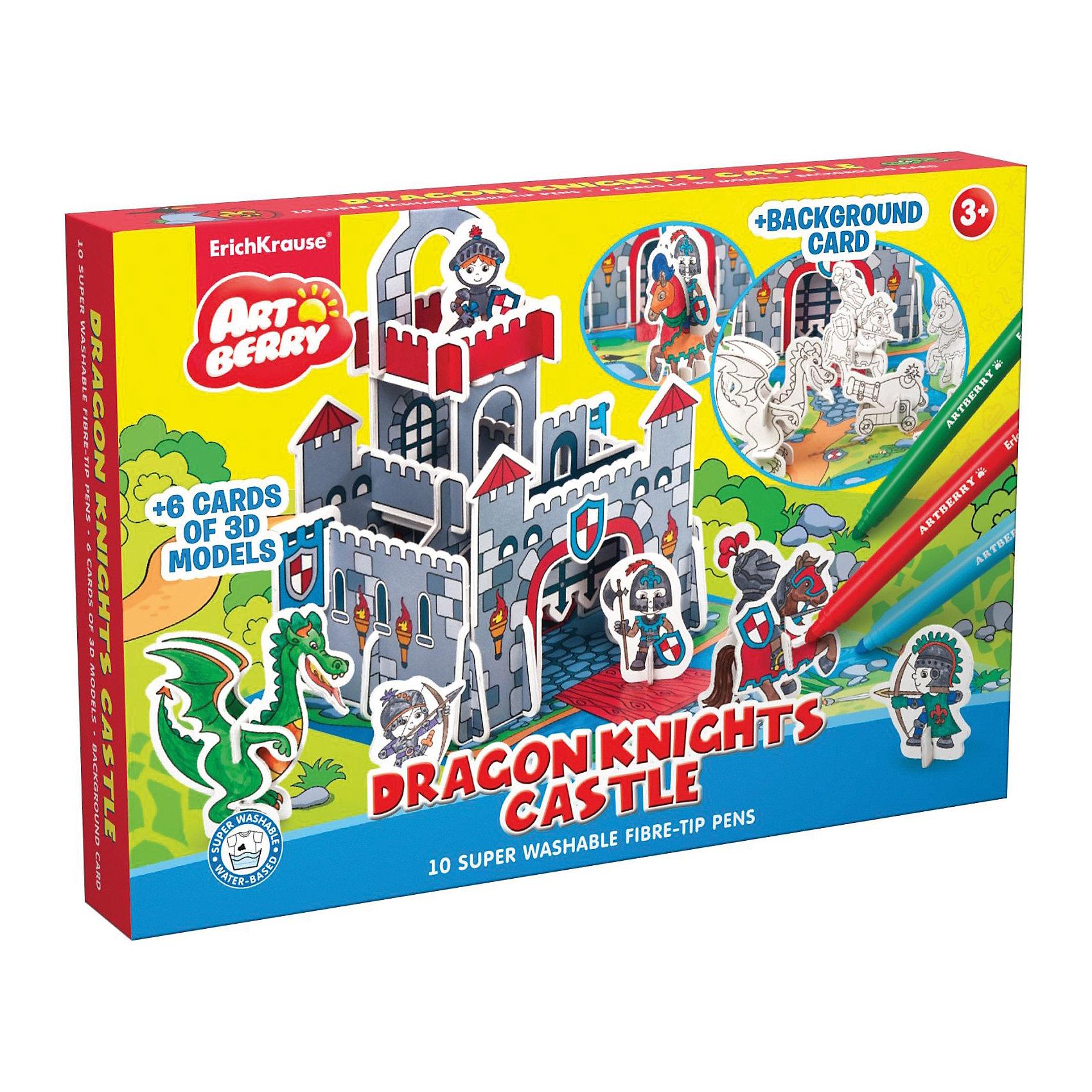3D Раскраска Замок рыцарей Дракона, ArtberryРукоделие<br>3D Раскраска Замок рыцарей Дракона, Artberry (Артберри) создана специально для мальчиков, которые любят творчество. Он представляет собой набор карт-шаблонов с объемными деталями замка, рыцарей, дракона и прочими аксессуарами, которые необходимо раскрасить фломастерами и собрать по инструкции на игровом поле, а затем придумывать увлекательные истории про рыцарей.<br><br>Комплектация: 10 разноцветных фломастеров, 6 карт-шаблонов с фигурками животных и аксессуарами замка <br><br>Дополнительная информация:<br>-Вес в упаковке: 581 г<br>-Размеры в упаковке: 335х230х44 мм<br>-Материалы: картон, пластик, чернила<br><br>Набор 3D Раскраска Замок рыцарей Дракона доставит настоящую радость Вашему ребенку и откроет ему увлекательный и красочный мир творчества!<br><br>3D Раскраска Замок рыцарей Дракона, Artberry (Артберри) можно купить в нашем магазине.<br><br>Ширина мм: 335<br>Глубина мм: 230<br>Высота мм: 44<br>Вес г: 581<br>Возраст от месяцев: 36<br>Возраст до месяцев: 144<br>Пол: Унисекс<br>Возраст: Детский<br>SKU: 4058314