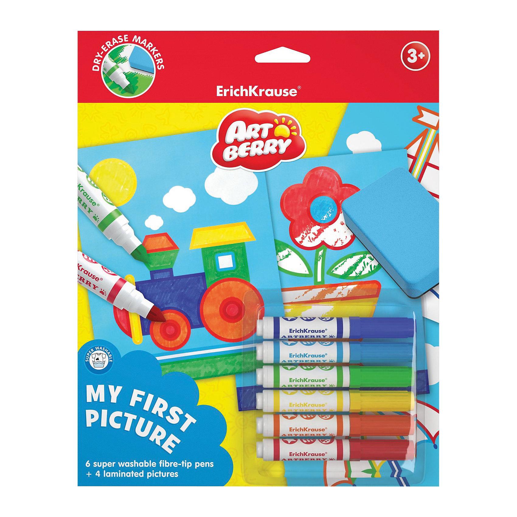Набор Моя первая картина (10 предметов), ArtberryНабор Моя первая картина (10 предметов), Artberry (Артберри)  предназначен для малышей, которые начинают знакомиться с рисованием. Предлагаются 4 шаблона с контурными рисунками, задача ребенка – аккуратно раскрасить картинку, соотнося номер цвета на шаблоне и корпусе фломастеров. Шаблоны заламинированы, поэтому рисунки можно стирать сухой салфеткой и раскрашивать снова и снова. Раскрашивание по номерам развивает усидчивость, моторику пальцев, терпение и трудолюбие, а также знакомит с цифрами.<br><br>Комплектация: 6 разноцветных фломастеров, 4 шаблона с контурами рисунков<br><br>Дополнительная информация:<br>-Вес в упаковке: 188 г<br>-Размеры в упаковке: 290х230х10 мм<br>-Материалы: <br><br>Набор для раскраски «Моя первая картина» станет отличным подарком, который будет способствовать раннему развитию творческих способностей Вашего малыша!<br><br>Набор Моя первая картина (10 предметов), Artberry (Артберри) можно купить в нашем магазине.<br><br>Ширина мм: 290<br>Глубина мм: 230<br>Высота мм: 10<br>Вес г: 188<br>Возраст от месяцев: 36<br>Возраст до месяцев: 144<br>Пол: Унисекс<br>Возраст: Детский<br>SKU: 4058315