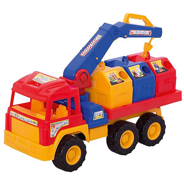 Мусоровоз Евростар, НордпластИграем в песочнице<br>Мусоровоз Евростар, Нордпласт – это пластмассовая машина, которой интересно будет играть вашему мальчику.<br>Мусоровоз «Евростар» обладает большим размером, очень удобным для игр дома, в детском саду или на прогулке. Мусоровоз очень красивый, в нем все продумано до мелочей. Мальчик наверняка оценит возможность представить себя в роли настоящего работника службы по наведению порядка в городе. Игрушка комплектуется тремя игрушечными «мусорными баками», которые можно поднимать и опускать, управляя стрелой с крюком вручную. Для управлении на стреле есть удобная ручка. Каждый контейнер предназначен для разного мусора. Три пары больших колес с широким протектором преодолеют самые крутые спуски и подъемы. Кабина с сидениями открытая, поэтому в ней можно разместить фигурки человечков. Машина украшена наклейками. Игрушка изготовлена из высококачественной пищевой пластмассы, без трещин и заусениц, поэтому во время эксплуатации выдержит многие детские шалости. Она покрыта нетоксичной краской, не облупливающейся и не выгорающей на солнце. Товар соответствует требованиям стандарта для детских игрушек и имеет сертификат качества.<br><br>Дополнительная информация:<br><br>- В комплекте: мусоровоз, 3 бака<br>- Материал: высококачественная пластмасса<br>- Размер: 30х26х62 см.<br>- Вес: 2210 гр.<br><br>Мусоровоз Евростар, Нордпласт можно купить в нашем интернет-магазине.<br><br>Ширина мм: 620<br>Глубина мм: 260<br>Высота мм: 300<br>Вес г: 2210<br>Возраст от месяцев: 24<br>Возраст до месяцев: 60<br>Пол: Мужской<br>Возраст: Детский<br>SKU: 4060295