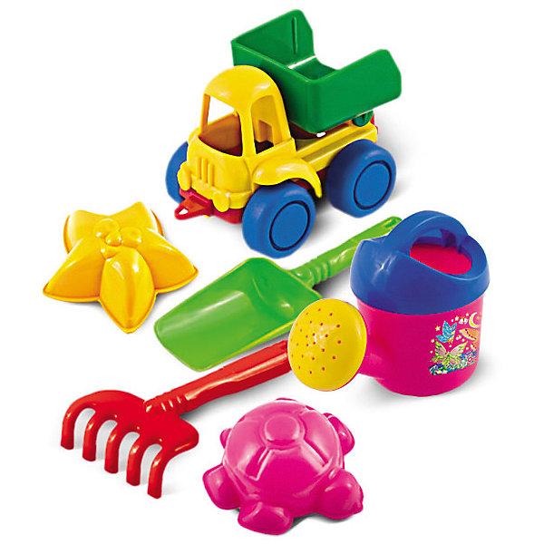 Набор для песка №48, НордпластИграем в песочнице<br>Набор для песка №48, Нордпласт - это радость и забава для летних развлечений вашего малыша.<br>Набор для песка привлечет внимание каждого ребенка, ведь с яркими игрушками проводить время в песочнице или на пляже станет гораздо интереснее. Набор включает в себя самосвал Нордик, кузов самосвала поднимается и опускается; две морских формочки: морская звезда и черепашка; совок и грабельки, также маленькую лейку. Набор для песка от компании Нордпласт сделан из качественной прочной пластмассы, поэтому не выцветает на солнце и не трескается.<br><br>Дополнительная информация:<br><br>- В наборе: самосвал Нордик, лейка кроха, грабли, совочек, формочки 2 шт.<br>- Размер лейки: 11.5 х 6.5х 9 см.<br>- Размер грабель: 13 х 6.5 см.<br>- Размер совка: 16.5 х 5.5 см.<br>- Размер формочек: 8 х 8 см.<br>- Размер самосвала: 11.5 х 6.5 х 7.5 см.<br>- Материал: пластмасса<br>- Размер упаковки: 11 х 17 х 10см.<br>- Вес: 140 гр.<br><br>Набор для песка №48, Нордпласт можно купить в нашем интернет-магазине.<br>Ширина мм: 110; Глубина мм: 170; Высота мм: 100; Вес г: 140; Возраст от месяцев: 24; Возраст до месяцев: 60; Пол: Унисекс; Возраст: Детский; SKU: 4060302;