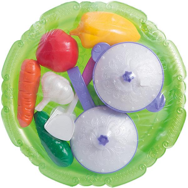 Набор овощей и кухонной посуды Волшебная хозяюшка, НордпластИгрушечные продукты питания<br>Набор овощей и кухонной посуды Волшебная хозяюшка, Нордпласт - это замечательный набор для юных хозяюшек.<br>Набор овощей и кухонной посуды Волшебная Хозяюшка - порадует любую девочку! В комплекте несколько спелых овощей, которые выглядят очень реалистично, а также лопатки, половник, сковорода и кастрюлька с крышками, украшенными изящным узором. Все предметы располагаются на подносе, который декорирован различными завитушками. Такой набор будет очень полезен на детской кухне, ведь с ним так удобно подавать угощенья на стол! Набор изготовлен из безопасной пластмассы ярких цветов, окрашенной нетоксичными красителями.<br><br>Дополнительная информация:<br><br>- В наборе 12 предметов на подносе: перец, помидор, огурец, морковь, чеснок, кастрюля с крышкой, сковорода с крышкой, шумовка, лопатка, ложка<br>- Диаметр сковороды и кастрюли: 10 см.<br>- Материал: пластмасса<br>- Размер упаковки: 7 х 32 х 32 см.<br>- Вес: 310 гр.<br><br>Набор овощей и кухонной посуды Волшебная хозяюшка, Нордпласт можно купить в нашем интернет-магазине.<br>Ширина мм: 70; Глубина мм: 320; Высота мм: 320; Вес г: 310; Возраст от месяцев: 24; Возраст до месяцев: 60; Пол: Женский; Возраст: Детский; SKU: 4060309;