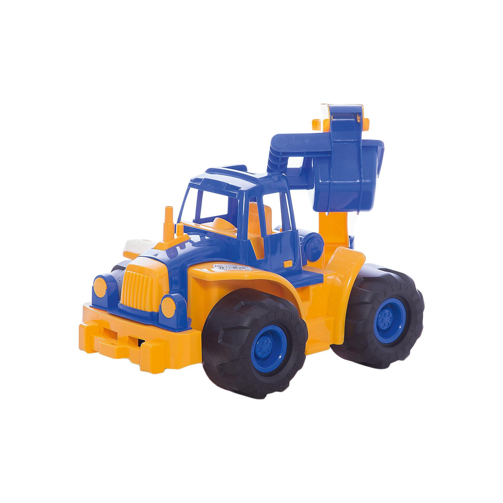 Трактор Богатырь с ковшом, НордпластИграем в песочнице<br>Трактор Богатырь с ковшом, Нордпласт – это пластмассовая машина, которой интересно будет играть вашему мальчику.<br>Мощный трактор Богатырь с большим ковшом от компании Нордпласт крутящимися колесами и просторной кабиной отлично подойдет ребенку для различных игр дома, в детском саду или на прогулке. Ковш трактора поднимается и опускается, управляется вручную. Для этого на ковше есть специальная ручка. Кабина с сидением открытая, поэтому в ней можно разместить маленькую фигурку водителя. Особенно интересно играть с таким трактором в песочнице. Игрушка изготовлена из высококачественной пищевой пластмассы, без трещин и заусениц, поэтому во время эксплуатации выдержит многие детские шалости. Она покрыта нетоксичной краской, не облупливающейся и не выгорающей на солнце. Товар соответствует требованиям стандарта для детских игрушек и имеет сертификат качества.<br><br>Дополнительная информация:<br><br>- Материал: высококачественная пластмасса<br>- Размер: 28х31,5х47 см.<br>- Вес: 1550 гр.<br><br>Трактор Богатырь с ковшом, Нордпласт можно купить в нашем интернет-магазине.<br><br>Ширина мм: 200<br>Глубина мм: 50<br>Высота мм: 300<br>Вес г: 1550<br>Возраст от месяцев: 24<br>Возраст до месяцев: 60<br>Пол: Мужской<br>Возраст: Детский<br>SKU: 4060314