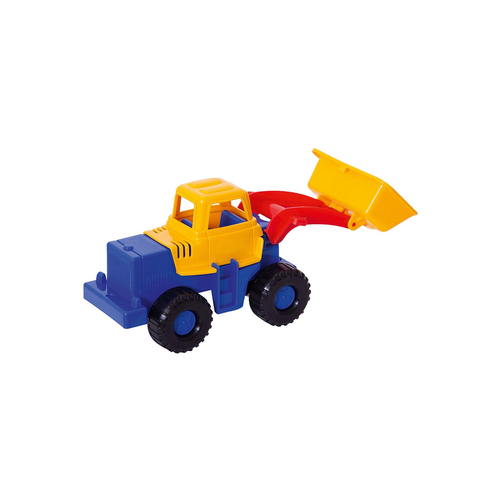 Трактор Медвежонок, НордпластМашинки<br>Трактор Медвежонок, Нордпласт – это пластмассовая машина, которой интересно будет играть вашему мальчику.<br>Надежный, крепкий и красочный трактор Медвежонок от компании Нордпласт  отлично подойдет ребенку для различных игр дома, в детском саду или на прогулке. У него подвижный большой ковш, с помощью которого можно копать траншеи, строить дороги и придумать много интересных и увлекательных игр. А в строительстве песочных замков, домов или плотин он станет незаменим! Кабина с сидением открытая, поэтому в ней можно разместить маленькую фигурку водителя. Есть лесенка, чтобы игрушечный водитель мог забираться в кабину. Большие колеса с текстурированными шинами делают игрушку устойчивой. Игрушка изготовлена из высококачественной пищевой пластмассы, без трещин и заусениц, поэтому во время эксплуатации выдержит многие детские шалости. Она покрыта нетоксичной краской, не облупливающейся и не выгорающей на солнце. Товар соответствует требованиям стандарта для детских игрушек и имеет сертификат качества.<br><br>Дополнительная информация:<br><br>- Материал: высококачественная пластмасса<br>- Размер: 14х13х28 см.<br>- Вес: 200 гр.<br><br>Трактор Медвежонок, Нордпласт можно купить в нашем интернет-магазине.<br><br>Ширина мм: 280<br>Глубина мм: 130<br>Высота мм: 140<br>Вес г: 200<br>Возраст от месяцев: 24<br>Возраст до месяцев: 60<br>Пол: Мужской<br>Возраст: Детский<br>SKU: 4060315