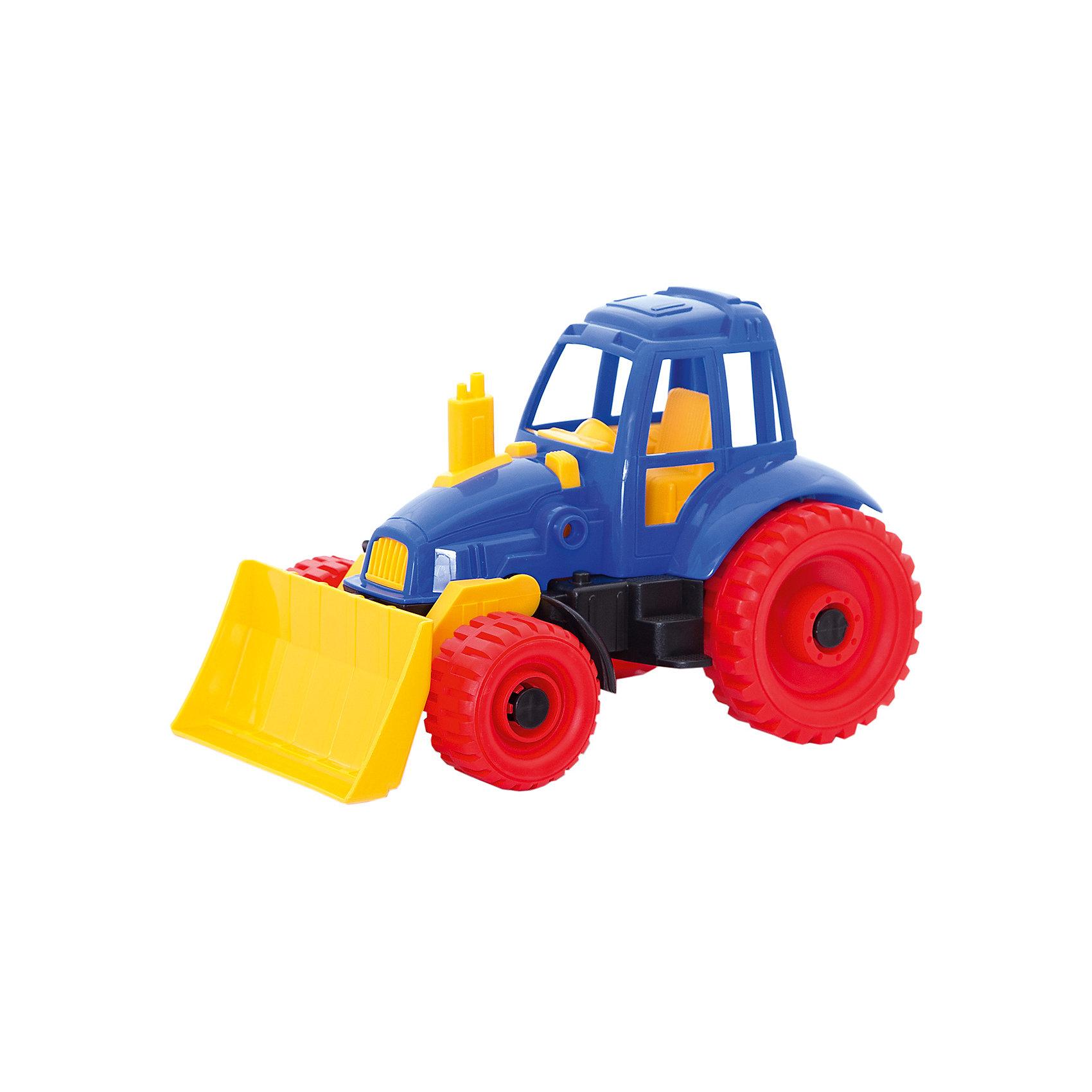 Трактор с грейдером, НордпластТрактор с грейдером, Нордпласт – это пластмассовая машина, которой интересно будет играть вашему мальчику.<br>Надежный, крепкий и красочный трактор с грейдером и крутящимися колесами от компании Нордпласт отлично подойдет ребенку для различных игр дома, в детском саду или на прогулке. С помощью подвижного грейдера можно собирать песок и производить уборку песочницы или улиц. Кабина с сидением открытая, поэтому в ней можно разместить маленькую фигурку водителя. У трактора впереди - два маленьких, сзади - два больших колеса, которые никогда не увязнут в песке. На переднем и заднем бампере трактора расположены отверстия, к которым можно прикрепить прицеп или тросик для буксировки. Игрушка изготовлена из высококачественной пищевой пластмассы, без трещин и заусениц, поэтому во время эксплуатации выдержит многие детские шалости. Она покрыта нетоксичной краской, не облупливающейся и не выгорающей на солнце. Товар соответствует требованиям стандарта для детских игрушек и имеет сертификат качества.<br><br>Дополнительная информация:<br><br>- Материал: высококачественная пластмасса<br>- Размер: 17,5х16,5х27,5 см.<br>- Вес: 420 гр.<br><br>Трактор с грейдером, Нордпласт можно купить в нашем интернет-магазине.<br><br>Ширина мм: 280<br>Глубина мм: 170<br>Высота мм: 180<br>Вес г: 420<br>Возраст от месяцев: 24<br>Возраст до месяцев: 60<br>Пол: Мужской<br>Возраст: Детский<br>SKU: 4060316