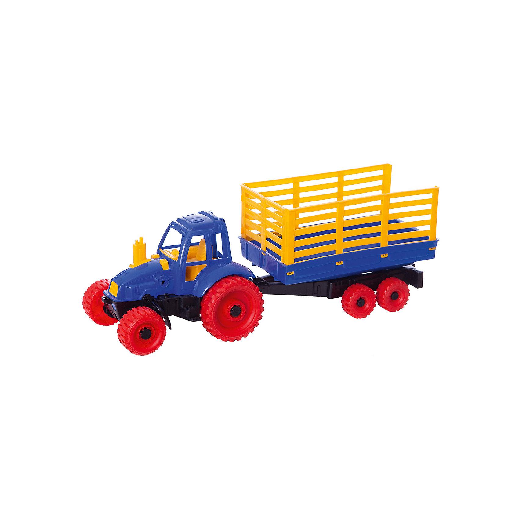 Трактор с прицепом, в ассортименте, НордпластИграем в песочнице<br>Трактор с прицепом, Нордпласт – это пластмассовая машина, которой интересно будет играть вашему мальчику.<br>Надежный, крепкий и красочный трактор с прицепом от компании Нордпласт отлично подойдет ребенку для различных игр дома, в детском саду или на прогулке. В просторном кузове ребенок сможет перевозить свои любимые игрушки, песок и формочки для него. Прицеп легко отсоединяется и прицепляется к трактору, что придает игре большую динамичность. Благодаря широким рельефным колесам обеспечивается отличное сцепление с поверхностью, а значит, трактор может преодолеть даже самые «непроходимые» песочные горки. Кабина с сидением открытая, поэтому в ней можно разместить маленькую фигурку водителя. Игрушка изготовлена из высококачественной пищевой пластмассы, без трещин и заусениц, поэтому во время эксплуатации выдержит многие детские шалости. Она покрыта нетоксичной краской, не облупливающейся и не выгорающей на солнце. Товар соответствует требованиям стандарта для детских игрушек и имеет сертификат качества.<br><br>Дополнительная информация:<br><br>- Материал: высококачественная пластмасса<br>- Размер: 19х16,5х54 см.<br>- Вес: 710 гр.<br><br>Трактор с прицепом, Нордпласт можно купить в нашем интернет-магазине.<br><br>Ширина мм: 540<br>Глубина мм: 170<br>Высота мм: 190<br>Вес г: 710<br>Возраст от месяцев: 24<br>Возраст до месяцев: 60<br>Пол: Мужской<br>Возраст: Детский<br>SKU: 4060317