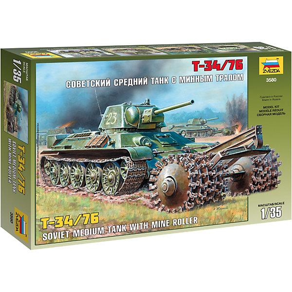 Сборная модель Танк Т-34/76с минным тралом, ЗвездаВоенный транспорт<br>Сборная модель Танк Т-34/76с минным тралом, Звезда – это модель для склеивания отличный подарок для ребенка и для взрослого.<br>Сборная модель Танк Т-34/76с минным тралом от российского производителя Звезда привлечет внимание не только ребенка, но и взрослого и позволит своими руками создать уменьшенную копию советского среднего танка периода Великой Отечественной войны. Борьба с минными заграждениями стала одной из главных проблем при ведении наступления частями Красной Армии. Для этих целей и был разработан минный трал, он устанавливался на танки Т-34 всех модификаций и самоходки на базе тридцатьчетверок. Он представлял собой два вала, установленные на вынесенной впереди танка платформе, которая крепилась к броне снизу под местом механика водителя. Модель танка выполнена в пропорции 1:35. Подробная детализация, безупречное литье пластиковых деталей, точность воспроизведения не оставят равнодушными ни начинающих, ни продвинутых моделистов. Модель собирается при помощи специального клея, выпускаемого предприятием Звезда. Процесс сборки развивает интеллектуальные и инструментальные способности, воображение и конструктивное мышление, а также прививает практические навыки работы со схемами и чертежами.<br><br>Дополнительная информация:<br><br>- Количество деталей: 237<br>- Длина собранной модели: 27 см.<br>- Масштаб: 1:35<br>- Материал: пластик<br>- Размер упаковки: 240x345x60 мм.<br>- Вес: 380 гр.<br>- Клей и краски в комплект не входят, приобретаются отдельно<br><br>Сборную модель Танк Т-34/76с минным тралом, Звезда можно купить в нашем интернет-магазине.<br>Ширина мм: 350; Глубина мм: 60; Высота мм: 240; Вес г: 390; Возраст от месяцев: 60; Возраст до месяцев: 168; Пол: Мужской; Возраст: Детский; SKU: 4060335;