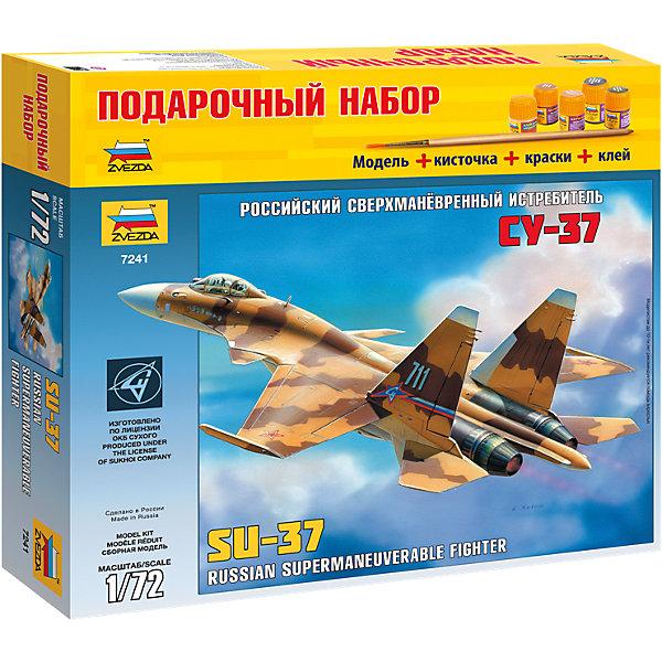 Подарочный набор Самолет Су-37, ЗвездаВоенный транспорт<br>Подарочный набор Самолет Су-37, Звезда – позволит создать уменьшенную копию известного самолета.<br>Подарочный набор Самолет Су-37 позволит вам и вашему ребенку собрать уменьшенную копию многофункционального сверхманевренного истребитель четвертого поколения. 2 апреля 1996 года состоялся первый полет самолета, получившего впоследствии индекс Су-37. Самолет оснащен двигателями с системой управления вектором тяги, а также более совершенным радиоэлектронным оборудованием. Технические решения, реализованные в конструкции нового истребителя, обеспечили ему возможность нанесения упреждающих ударов по любому воздушному противнику и атаку наземных целей без входа в зону ПВО. Модель самолета выполнена в пропорции 1:72. Подробная детализация, безупречное литье пластиковых деталей, точность воспроизведения не оставят равнодушными ни начинающих, ни продвинутых моделистов и авиалюбителей. Модель собирается при помощи специального клея. Процесс сборки развивает интеллектуальные и инструментальные способности, воображение и конструктивное мышление, а также прививает практические навыки работы со схемами и чертежами.<br><br>Дополнительная информация:<br><br>- В наборе: 132 детали для сборки, клей, кисточка, акриловые краски на водной основе<br>- Длина собранной модели: 28,5 см.<br>- Масштаб: 1:72<br>- Материал: высококачественный пластик<br>- Размер упаковки: 315x345x60 мм.<br>- Вес: 740 гр.<br><br>Подарочный набор Самолет Су-37, Звезда можно купить в нашем интернет-магазине.<br><br>Ширина мм: 350<br>Глубина мм: 60<br>Высота мм: 320<br>Вес г: 770<br>Возраст от месяцев: 60<br>Возраст до месяцев: 192<br>Пол: Мужской<br>Возраст: Детский<br>SKU: 4060342
