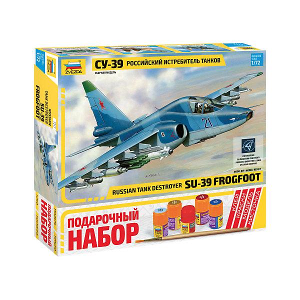 Подарочный набор Самолет СУ-39, ЗвездаСамолёты и вертолёты<br>Подарочный набор Самолет СУ-39, Звезда – позволит создать уменьшенную копию известного самолета.<br>Подарочный набор Самолет СУ-39 позволит вам и вашему ребенку собрать уменьшенную копию штурмовика, разработанного в конце 80-х годов ОКБ Сухого. Су-39 является дальнейшим развитием известного советского штурмовика Су-25 и предназначен для использования в качестве истребителя танков, кораблей в прибрежных зонах, транспортную и фронтовую авиацию противника, для чего оснащен мощнейшим комплексом вооружения. Самолет может нести на своем борту до нескольких тонн вооружения. В числе этого вооружения могут быть, как управляемые ракеты, так и снаряды с бомбами. Модель самолета выполнена в пропорции 1:72. Подробная детализация, безупречное литье пластиковых деталей, точность воспроизведения не оставят равнодушными ни начинающих, ни продвинутых моделистов и авиалюбителей. Модель собирается при помощи специального клея. Процесс сборки развивает интеллектуальные и инструментальные способности, воображение и конструктивное мышление, а также прививает практические навыки работы со схемами и чертежами.<br><br>Дополнительная информация:<br><br>- В наборе: 131 деталь для сборки, клей, кисточка, краски<br>- Длина собранной модели: 21 см.<br>- Масштаб: 1:72<br>- Материал: высококачественный пластик<br>- Размер упаковки: 350x32x60 мм.<br>- Вес: 730 гр.<br><br>Подарочный набор Самолет СУ-39, Звезда можно купить в нашем интернет-магазине.<br><br>Ширина мм: 350<br>Глубина мм: 60<br>Высота мм: 320<br>Вес г: 730<br>Возраст от месяцев: 60<br>Возраст до месяцев: 192<br>Пол: Мужской<br>Возраст: Детский<br>SKU: 4060343