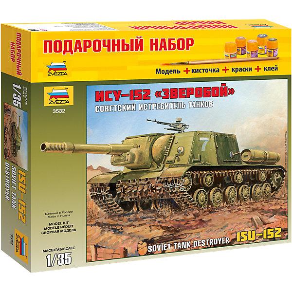 Подарочный набор Самоходка ИСУ-152, ЗвездаВоенный транспорт<br>Подарочный набор Самоходка ИСУ-152, Звезда – модель для склеивания отличный подарок для ребенка и для взрослого.<br>Подарочный набор Самоходка ИСУ-152 от российского производителя Звезда привлечет внимание не только ребенка, но и взрослого и позволит своими руками создать уменьшенную копию самой мощной самоходной артиллерийской установки Второй мировой войны. Самоходка ИСУ-152 была создана на базе тяжелого танка ИС-2. Она предназначалась для борьбы с тяжелыми танками противника и для подавления огневых средств, успешно применялась и при штурме фортификационных сооружений. Модель выполнена в пропорции 1:35. Подробная детализация, безупречное литье пластиковых деталей, точность воспроизведения не оставят равнодушными ни начинающих, ни продвинутых моделистов. Процесс сборки развивает интеллектуальные и инструментальные способности, воображение и конструктивное мышление, а также прививает практические навыки работы со схемами и чертежами.<br><br>Дополнительная информация:<br><br>- В наборе: 200 деталей для сборки, клей, кисточка, краски<br>- Длина собранной модели: 26,5 см.<br>- Масштаб: 1:35<br>- Материал: высококачественный пластик<br>- Размер упаковки: 310x345x60 мм.<br>- Вес: 694 гр.<br><br>Подарочный набор Самоходка ИСУ-152, Звезда можно купить в нашем интернет-магазине.<br>Ширина мм: 350; Глубина мм: 60; Высота мм: 320; Вес г: 750; Возраст от месяцев: 60; Возраст до месяцев: 192; Пол: Мужской; Возраст: Детский; SKU: 4060344;