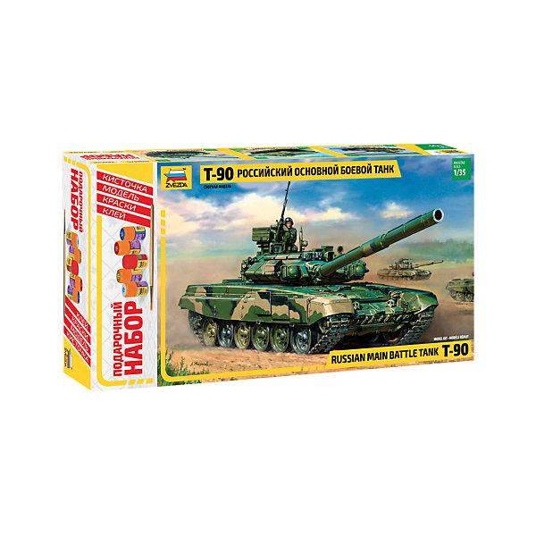 Подарочный набор Танк Т-90, ЗвездаВоенный транспорт<br>Подарочный набор Танк Т-90, Звезда  – модель для склеивания отличный подарок для ребенка и для взрослого.<br>Подарочный набор Танк Т-90 от российского производителя Звезда привлечет внимание не только ребенка, но и взрослого и позволит своими руками создать уменьшенную копию боевого танка российской армии. Танк Т-90 был разработан в 1989 году в конструкторском бюро нижнетагильского Уралвагонзавода как очередная модификация Т-72 (Т-72БУ). В 1993 году он был принят на вооружение под индексом Т-90. Танк вооружён гладкоствольной 125-мм пушкой 2А46М повышенной точности. Орудие позволяет вести огонь не только различными типами снарядов, но и управляемыми по лазерному лучу ракетами. Применение автомата заряжания позволило достичь скорострельности до 7-8 выстрелов в минуту, что выгодно отличает Т-90 от большинства зарубежных танков. Т-90 может стрелять не только по любым наземным целям, но и по низколетящим самолетам и вертолётам противника. Возможности орудия и новейший прицельный комплекс 1А45Т Иртыш позволяют уничтожить любой самый современный танк противника ещё до того, как он приблизится на расстояние эффективной стрельбы из своей пушки. Вспомогательное вооружение состоит из спаренного с пушкой 7,62-мм пулемёта ПКТМ и дистанционно наводимого 12,7-мм зенитного пулемёта 6П49 Корд на башне. Собственная защита танка обеспечивается применением активной брони и новейшего комплекса оптико-электронного подавления Штора-1. Модель выполнена в пропорции 1:35. Подробная детализация, безупречное литье пластиковых деталей, точность воспроизведения не оставят равнодушными ни начинающих, ни продвинутых моделистов. Процесс сборки развивает интеллектуальные и инструментальные способности, воображение и конструктивное мышление, а также прививает практические навыки работы со схемами и чертежами.<br><br>Дополнительная информация:<br><br>- В наборе: 451 деталей для сборки, клей, кисточка, акриловые краски на водной основе<br>- Длина с