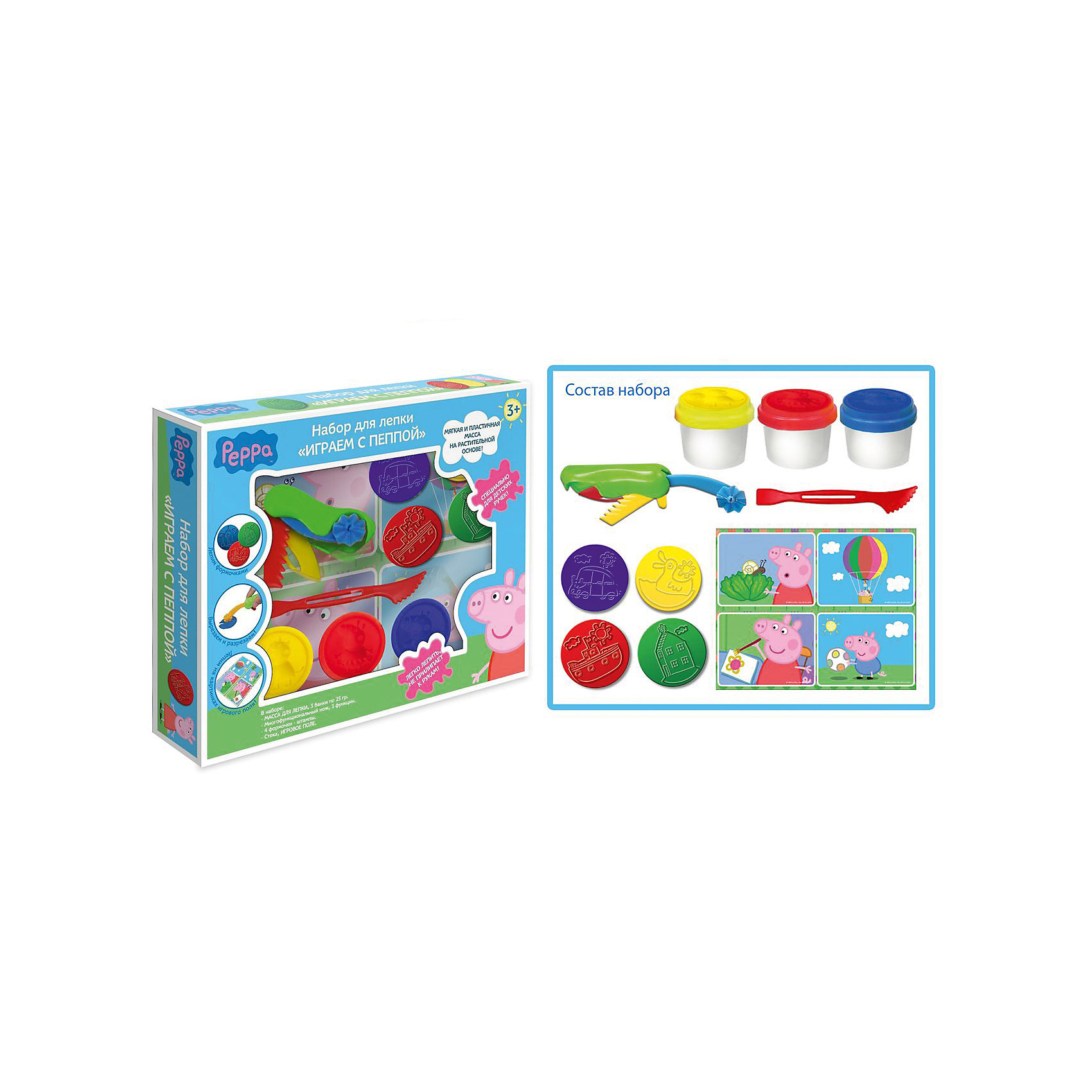 Набор для лепки Играем с Пеппой (3*25 г) с формочкамиНабор для лепки Играем с Пеппой, Свинка Пеппа, замечательно подойдет для детского творчества и превратит лепку в увлекательную игру. Яркие цвета, разнообразные фигурные формочки и инструменты для лепки открывают ребенку простор для творческих экспериментов и позволят создать множество оригинальных поделок. С помощью формочек-штампиков можно выдавливать из пластилина изображения любимых героев из популярного мультфильма Свинка Пеппа (Peppa Pig), а инструкция подскажет как лучше смешивать цвета и создавать забавные фигурки.<br>Специальный фигурный нож позволит вырезать различные детали из пластилина. В комплект также входит игровое поле с рисунками, которые можно украсить массой для лепки. Масса обладает отличными пластичными свойствами, мягкая, приятная на ощупь, не прилипает к рукам.<br>Состав содержит растительную основу, поэтому масса полностью безопасна при использовании по назначению. Комплект упакован в красочную картонную коробку с изображением главной героини любимого мультфильма. Занятия лепкой развивают у ребенка фантазию, творческие способности и объемное воображение, тренируют координацию движений и мелкую моторику.<br><br>Дополнительная информация:<br><br>- В комплекте: масса для лепки 3 цветов (красный, желтый, синий) в баночках по 25 гр. с крышками-формочками героев мультфильма, раскладной нож с 3 функциями, 4 формочки-штампика, игровое поле, стека.<br>- Размер упаковки: 26 x 21 x 4 см.<br>- Вес: 0,275 кг.<br><br>Набор для лепки Играем с Пеппой (3 х 25 гр.), Свинка Пеппа, можно купить в нашем интернет-магазине.<br><br>Ширина мм: 260<br>Глубина мм: 210<br>Высота мм: 40<br>Вес г: 275<br>Возраст от месяцев: 36<br>Возраст до месяцев: 108<br>Пол: Унисекс<br>Возраст: Детский<br>SKU: 4062796