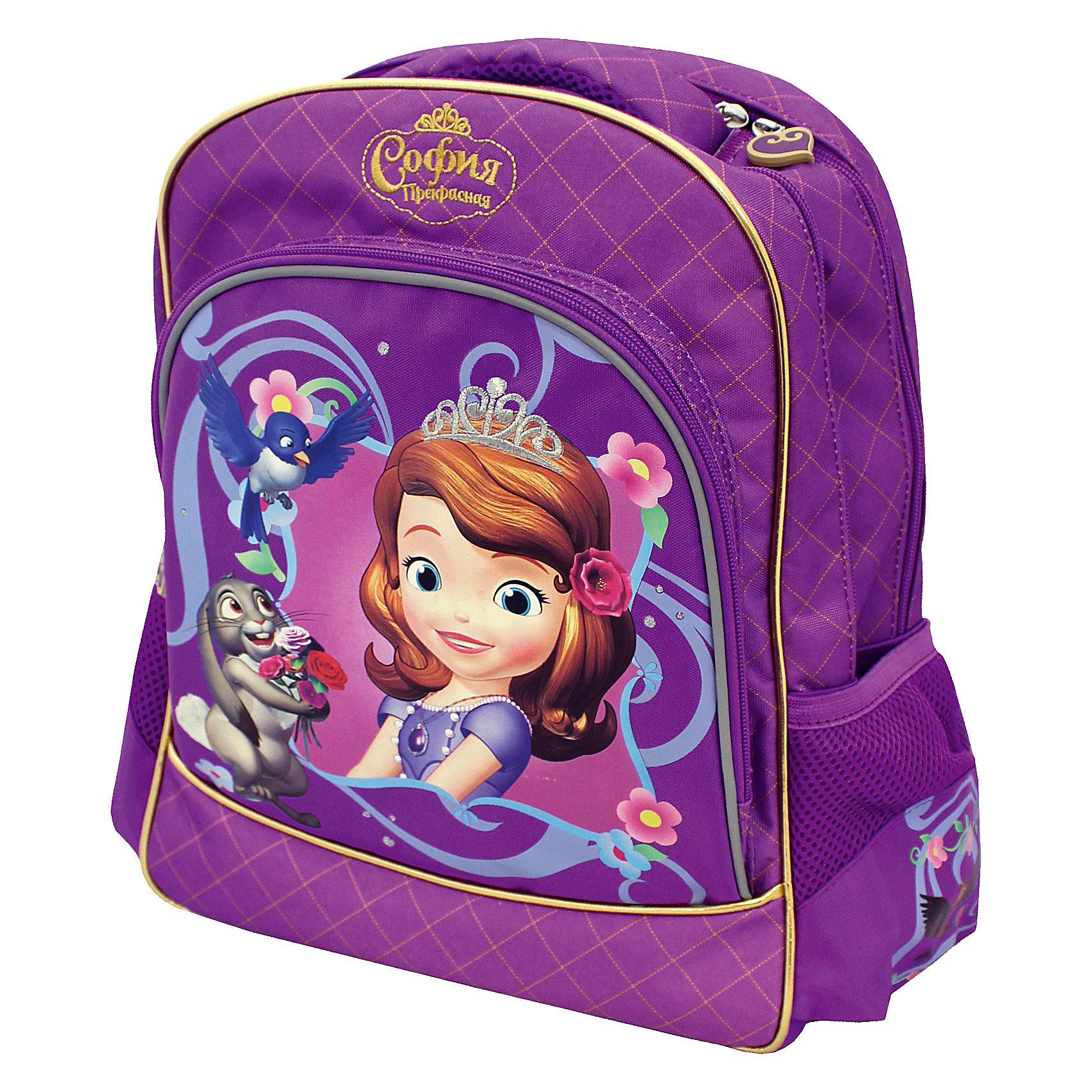 Ортопедический рюкзак София ПрекраснаяМягкий ортопедический рюкзак София Прекрасная, Disney - удобный и практичный школьный рюкзак для повседневного использования. Рюкзак выполнен из износоустойчивых материалов с водонепроницаемой основой. Маленькой школьнице непременно понравится привлекательный дизайн с красивой фиолетовой расцветкой и изображениями маленькой принцессы Софии и ее друзей-зверюшек из популярного диснеевского мультфильма София Прекрасная. Рюкзак имеет легкий вес, ортопедическая спинка из дышащего материала равномерно распределяет нагрузку на плечевые суставы и спину. Широкие мягкие лямки регулируются по длине, в зависимости от роста ребенка. Также есть удобная мягкая ручка для переноски в руке. <br><br>Рюкзак закрывается на застежку-молнию, внутри два больших отделения с отсеками для книг и тетрадей и задняя плюшевая стенка, которая предохраняет размещенный в рюкзаке гаджет от царапин. Также имеются два сетчатых кармана по бокам и большой накладной карман на молнии на лицевой стороне. Светоотражающие элементы на лямках и лицевом кармане повышают безопасность ребенка в темноте. <br><br>Дополнительная информация:<br><br>- Материал: полиэстер.  <br>- Размер: 38 х 28 х 13 см.<br>- Вес: 0,99 кг.<br><br>Мягкий ортопедический рюкзак София Прекрасная, Disney, можно купить в нашем интернет-магазине.<br><br>Ширина мм: 300<br>Глубина мм: 60<br>Высота мм: 370<br>Вес г: 990<br>Возраст от месяцев: 36<br>Возраст до месяцев: 108<br>Пол: Женский<br>Возраст: Детский<br>SKU: 4062800