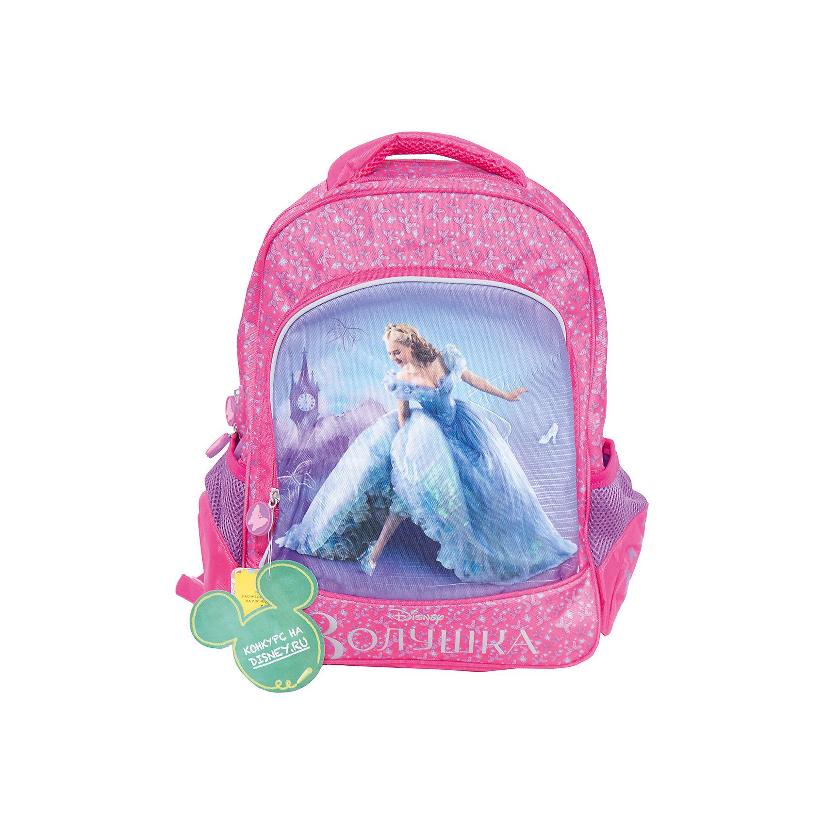 Ортопедический рюкзак ЗолушкаМягкий ортопедический рюкзак Золушка, Disney - удобный и практичный школьный рюкзак для повседневного использования. Рюкзак выполнен из износоустойчивых материалов с водонепроницаемой основой. Маленькой школьнице непременно понравится привлекательный дизайн с красивой розовой расцветкой, узором в виде бабочек и изображением популярной героини из диснеевской сказки. Рюкзак имеет легкий вес, ортопедическая спинка из дышащего материала равномерно распределяет нагрузку на плечевые суставы и спину. Широкие мягкие лямки регулируются по длине, в зависимости от роста ребенка. Также есть удобная мягкая ручка для переноски в руке. <br><br>Рюкзак закрывается на застежку-молнию, внутри два больших отделения с отсеками для книг и тетрадей и задняя плюшевая стенка, которая предохраняет размещенный в рюкзаке гаджет от царапин. Также имеются два сетчатых кармана по бокам и большой накладной карман на молнии на лицевой стороне. Светоотражающие элементы на лямках и лицевом кармане повышают безопасность ребенка в темноте.<br><br>Дополнительная информация:<br><br>- Материал: полиэстер.  <br>- Размер: 38 х 28 х 13 см.<br>- Вес: 0,99 кг.<br><br>Мягкий ортопедический рюкзак Золушка, Disney, можно купить в нашем интернет-магазине.<br><br>Ширина мм: 280<br>Глубина мм: 130<br>Высота мм: 380<br>Вес г: 990<br>Возраст от месяцев: 36<br>Возраст до месяцев: 96<br>Пол: Женский<br>Возраст: Детский<br>SKU: 4062805