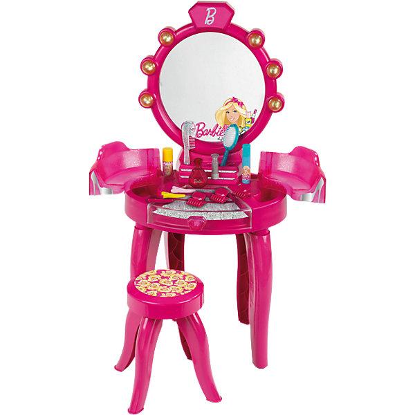 Набор Студия красоты премиум, Barbie, KleinBarbie Игрушки<br>В наборе есть все самое необходимое для того, чтобы малышка почувствовала себя настоящей принцессой. <br>В наборе: косметический столик, стульчик и набор аксессуаров для макияжа. Расческа, массажная щетка, заколки и даже парфюмерные флаконы - все это включено в набор. <br><br>Дополнительная информация: <br><br>- Возраст: от 3 лет.<br>- Материал: пластик.<br>- В наборе: фен, флакончики, расческа, кисточки, браслетики, заколочки, наклейки, сборная табуретка, зеркало, подставка.<br>- Цвет: розовый, голубой, белый.<br>- Размер упаковки: 90х41х28 см.<br><br>Купить набор Студия красоты Barbie от Klein, можно в нашем магазине.<br><br>Ширина мм: 545<br>Глубина мм: 464<br>Высота мм: 157<br>Вес г: 2990<br>Возраст от месяцев: 36<br>Возраст до месяцев: 72<br>Пол: Женский<br>Возраст: Детский<br>SKU: 4067504