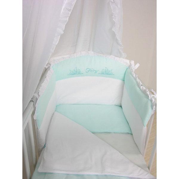 Борт в кроватку Fairy Сладкий сон ФеяПостельное белье в кроватку новорождённого<br>Мягкий борт в кроватку с нежным принтом и спокойной приятной расцветкой подарит крохе комфорт, безопасность и защитит от сквозняков. Борт выполнен из высококачественных гипоаллергенных материалов, сохраняющих цвет и свойства после стирки. <br><br>Дополнительная информация:<br><br>- Материал верха:  бязь (хлопок 100%).<br>- Наполнитель: периотек.<br>- Размер бортика: 54 х 184 см.<br>- Цвет: белый, бирюзовый.<br>- Подходит для кроваток с размером ложа 120 х 60 см.<br><br>Борт в кроватку Fairy Сладкий сон Фея, можно купить в нашем магазине.<br><br>Ширина мм: 650<br>Глубина мм: 140<br>Высота мм: 490<br>Вес г: 900<br>Возраст от месяцев: 0<br>Возраст до месяцев: 36<br>Пол: Унисекс<br>Возраст: Детский<br>SKU: 4067698