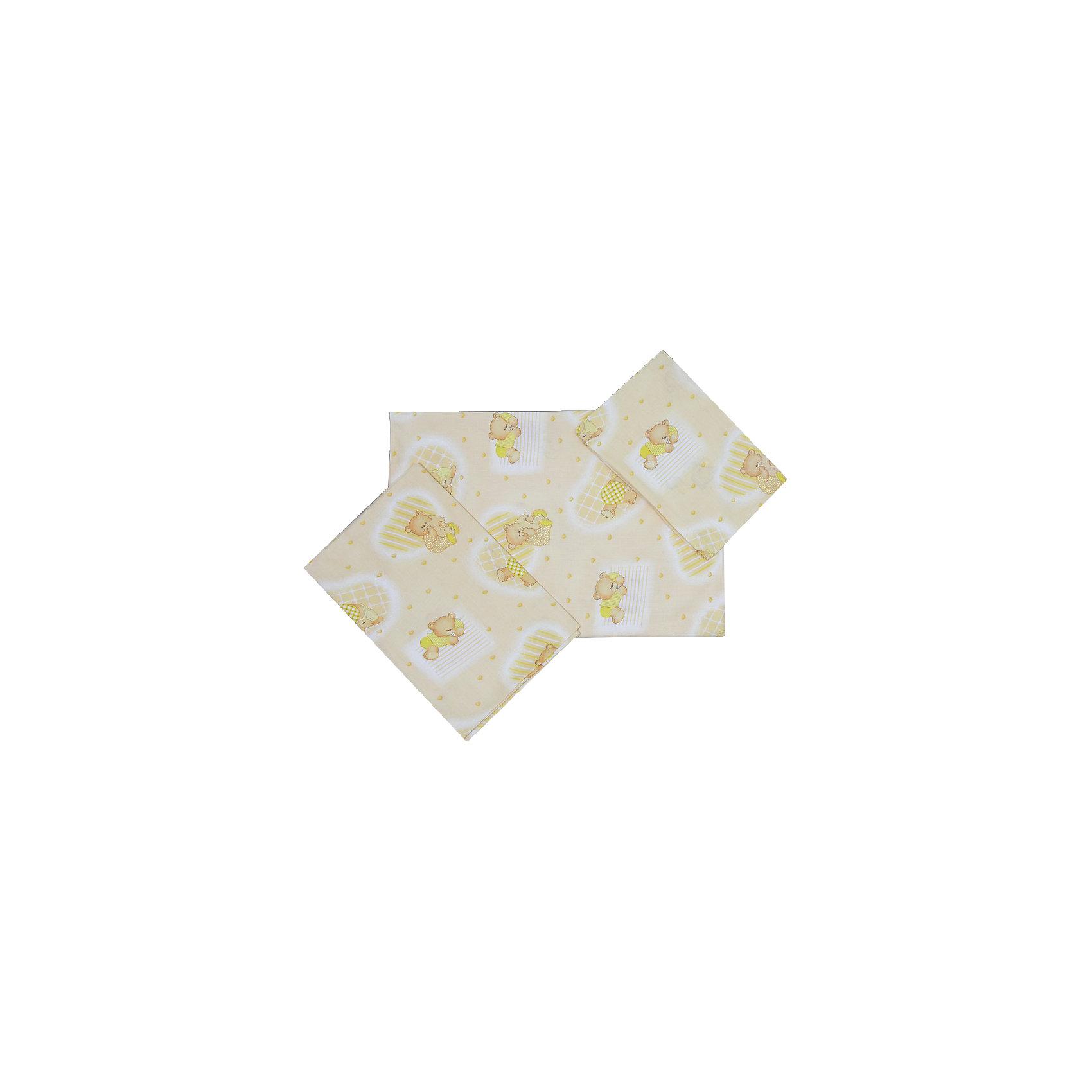 Простыня на резинке  Мишки Фея, желтый