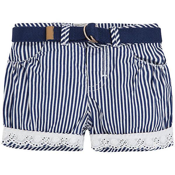 Шорты для девочки MayoralШорты и бриджи<br>Шорты для девочки от популярной испанской марки Mayoral.<br>Красивые шорты от известного испанского бренда Mayoral – отличный вариант летней одежды для девочек. Удобный крой и качественный материал обеспечит ребенку комфорт при ношении этой вещи. Натуральный хлопок в составе подкладки изделия делает ее более мягкой.<br><br>Шорты выполнены из легкой ткани в вертикальную бело-синюю полоску. Низ штанин украшен кружевом. В комплекте идет ремень.<br><br>Состав: 100% хлопок<br><br>Уход за изделием:<br><br>стирка в машине при температуре до 30°С,<br>не отбеливать,<br>гладить на низкой температуре.<br> <br>Габариты:<br><br>длина штанин по внутреннему шву – 4 см<br><br>*Числовые параметры соответствуют росту 74<br>Шорты для девочки Mayoral (Майорал) можно купить в нашем магазине.<br><br>Ширина мм: 191<br>Глубина мм: 10<br>Высота мм: 175<br>Вес г: 273<br>Цвет: синий<br>Возраст от месяцев: 12<br>Возраст до месяцев: 12<br>Пол: Женский<br>Возраст: Детский<br>Размер: 80,92,86<br>SKU: 4069717