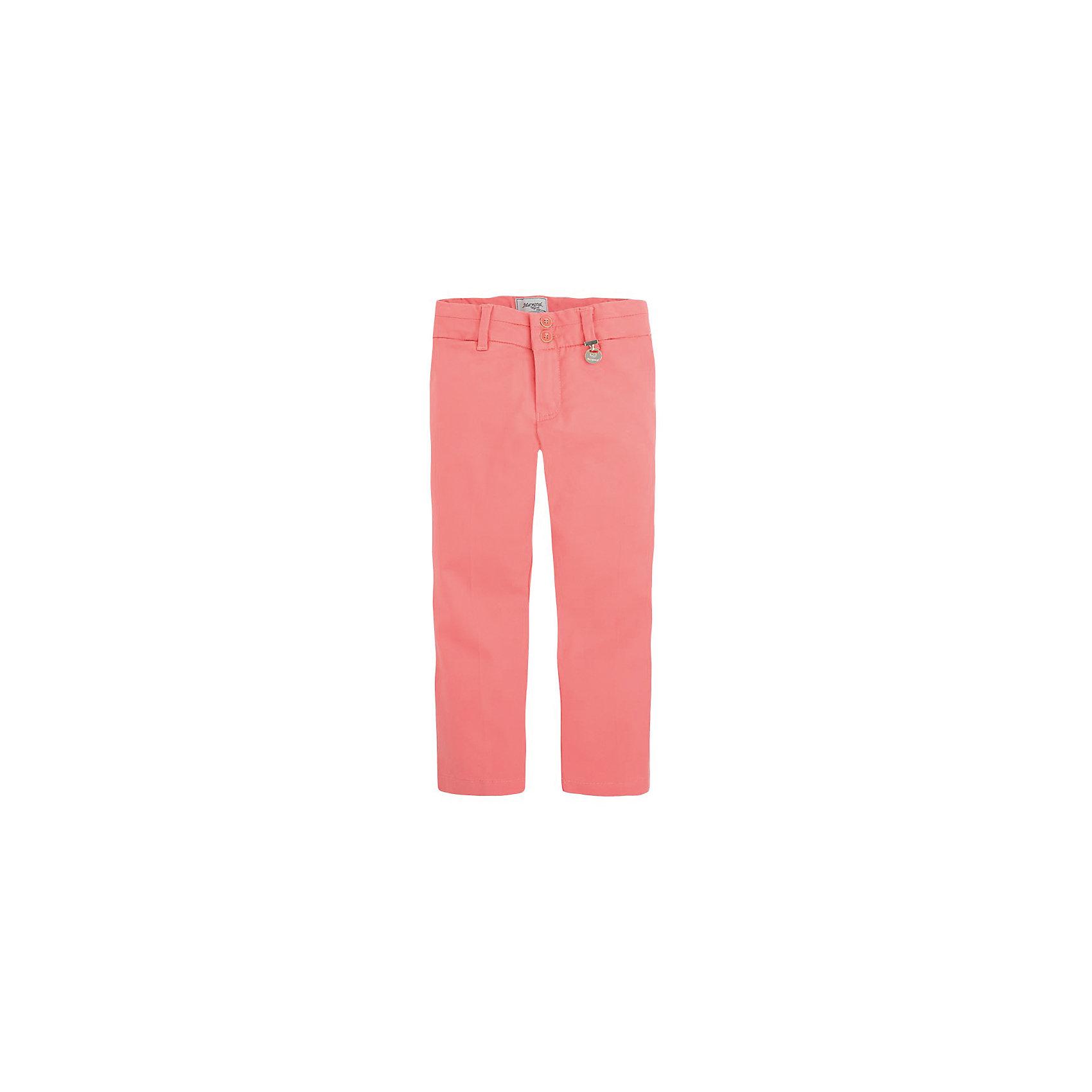 Брюки для девочки MayoralБрюки для девочки от популярной испанской марки Mayoral.<br><br>Красивые легкие брюки от известного испанского бренда Mayoral дополнят гардероб девочки. Удобная посадка и качественный материал обеспечит ребенку комфорт при ношении этой вещи.<br><br>Особенности модели:<br>- цвет: розовый;<br>- материал эластичный, легкий;<br>- преобладание хлопка в составе;<br>- на поясе - внутренние резинки для регулировки размера.<br><br>Состав: 97% хлопок, 3% эластан.<br><br>Уход за изделием:<br><br>стирка в машине при температуре до 30°С,<br>не отбеливать,<br>гладить на низкой температуре.<br> <br>Габариты:<br><br>длина штанин по внутреннему шву – 32 см.<br><br>*Числовые параметры соответствуют росту 92<br> <br>Брюки для девочки Mayoral (Майорал) можно купить в нашем магазине.<br><br>Ширина мм: 215<br>Глубина мм: 88<br>Высота мм: 191<br>Вес г: 336<br>Цвет: красный<br>Возраст от месяцев: 84<br>Возраст до месяцев: 96<br>Пол: Женский<br>Возраст: Детский<br>Размер: 128,104,98,116,134,110,122<br>SKU: 4071403