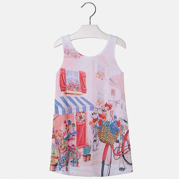 Платье для девочки MayoralПлатья и сарафаны<br>Характеристики товара:<br><br>• цвет: мультиколор<br>• состав: 92% хлопок, 8% эластан, подкладка - 100% полиэстер<br>• без застежки<br>• принт<br>• без рукавов<br>• с подкладкой<br>• страна бренда: Испания<br><br>Модное красивое платье для девочки поможет разнообразить гардероб ребенка и создать эффектный наряд. Оно отлично подойдет для различных случаев. Красивый оттенок позволяет подобрать к вещи обувь разных расцветок. Платье хорошо сидит по фигуре. . В составе материала - натуральный хлопок, гипоаллергенный, приятный на ощупь, дышащий.<br><br>Одежда, обувь и аксессуары от испанского бренда Mayoral полюбились детям и взрослым по всему миру. Модели этой марки - стильные и удобные. Для их производства используются только безопасные, качественные материалы и фурнитура. Порадуйте ребенка модными и красивыми вещами от Mayoral! <br><br>Платье для девочки от испанского бренда Mayoral (Майорал) можно купить в нашем интернет-магазине.<br><br>Ширина мм: 236<br>Глубина мм: 16<br>Высота мм: 184<br>Вес г: 177<br>Цвет: красный<br>Возраст от месяцев: 48<br>Возраст до месяцев: 60<br>Пол: Женский<br>Возраст: Детский<br>Размер: 110,116,98,134,104,128,122<br>SKU: 4071677