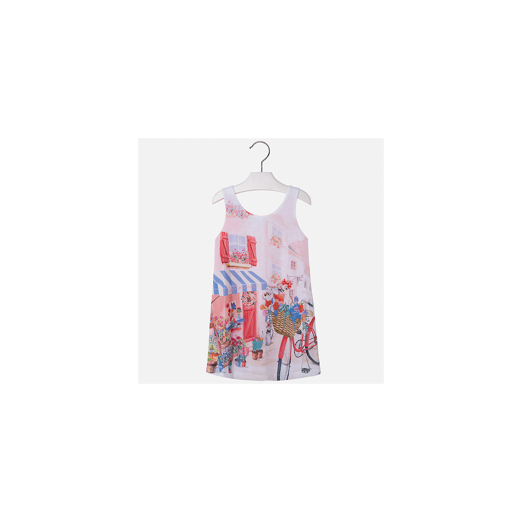 Платье для девочки MayoralЛетние платья и сарафаны<br>Характеристики товара:<br><br>• цвет: мультиколор<br>• состав: 92% хлопок, 8% эластан, подкладка - 100% полиэстер<br>• без застежки<br>• принт<br>• без рукавов<br>• с подкладкой<br>• страна бренда: Испания<br><br>Модное красивое платье для девочки поможет разнообразить гардероб ребенка и создать эффектный наряд. Оно отлично подойдет для различных случаев. Красивый оттенок позволяет подобрать к вещи обувь разных расцветок. Платье хорошо сидит по фигуре. . В составе материала - натуральный хлопок, гипоаллергенный, приятный на ощупь, дышащий.<br><br>Одежда, обувь и аксессуары от испанского бренда Mayoral полюбились детям и взрослым по всему миру. Модели этой марки - стильные и удобные. Для их производства используются только безопасные, качественные материалы и фурнитура. Порадуйте ребенка модными и красивыми вещами от Mayoral! <br><br>Платье для девочки от испанского бренда Mayoral (Майорал) можно купить в нашем интернет-магазине.<br><br>Ширина мм: 236<br>Глубина мм: 16<br>Высота мм: 184<br>Вес г: 177<br>Цвет: красный<br>Возраст от месяцев: 60<br>Возраст до месяцев: 72<br>Пол: Женский<br>Возраст: Детский<br>Размер: 116,110,122,128,104,134,98<br>SKU: 4071677