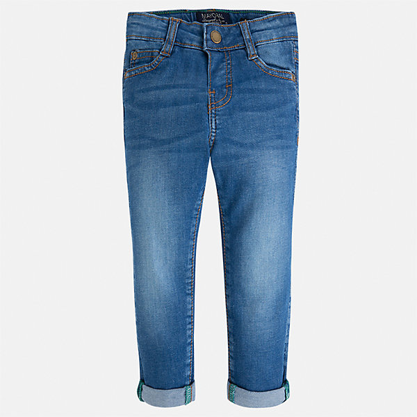 Джинсы для мальчика MayoralДжинсовая одежда<br>Характеристики товара:<br><br>• цвет: синий<br>• состав: 97% хлопок, 3% эластан<br>• шлевки<br>• карманы<br>• пояс с регулировкой объема<br>• эффект потертостей<br>• страна бренда: Испания<br><br>Джинсы для мальчика смогут стать базовой вещью в гардеробе ребенка. Они отлично сочетаются с майками, футболками, куртками и т.д. Универсальный крой и цвет позволяет подобрать к вещи верх разных расцветок. Практичное и стильное изделие! В составе материала - натуральный хлопок, гипоаллергенный, приятный на ощупь, дышащий.<br><br>Одежда, обувь и аксессуары от испанского бренда Mayoral полюбились детям и взрослым по всему миру. Модели этой марки - стильные и удобные. Для их производства используются только безопасные, качественные материалы и фурнитура. Порадуйте ребенка модными и красивыми вещами от Mayoral! <br><br>Джинсы для мальчика от испанского бренда Mayoral (Майорал) можно купить в нашем интернет-магазине.<br>Ширина мм: 215; Глубина мм: 88; Высота мм: 191; Вес г: 336; Цвет: синий; Возраст от месяцев: 18; Возраст до месяцев: 24; Пол: Мужской; Возраст: Детский; Размер: 104,116,134,128,122,110,98,92; SKU: 4071725;