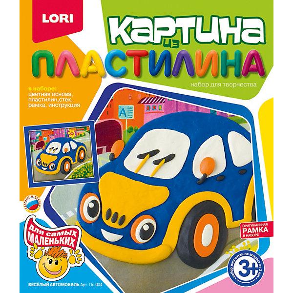 Картина из пластилина Веселый автомобиль, LORIНаборы для лепки<br>Если Вы и Ваш ребенок любите проводить время вмести и учиться чему-то новому, то набор для создания картин из пластилина Веселый автомобиль от LORI (ЛОРИ) - это то, что Вы искали. С его помощью Вы научите ребенка не только различать цвета, но и создавать настоящие картины из пластилина. Техника очень простая, поэтому набор подойдет для самых маленьких любителей лепки. Ребенка обязательно привлечет яркая картинка, с изображением симпатичного автомобильчика. Приклеивая кусочек за кусочком, ребенок увидит, как картинка будто оживает у него на глазах! Малыш обязательно влюбится в это увлекательное занятие! Покажите ребенку, как создается картинка на одном фрагменте и вскоре он будет увлеченно подбирать цвета и приклеивать кусочки пластилина самостоятельно. По окончании работы, Вы сможете смастерить рамку и повесить замечательную картинку на видное место! Занятие с увлекательным набором Веселый автомобиль от LORI (ЛОРИ) способствует развитию мелкой моторики, мышления и воображения детей. <br><br>Дополнительная информация:<br><br>- Способствует развитию моторики, мышления, воображения;<br>- В комплекте: цветная основа, пластилин, стек, рамка, инструкция;<br>- Отлично подойдет малышам;<br>- Прекрасный подарок;<br>- В наборе оригинальная рамка;<br>- Размер упаковки: 23 х 20 х 4 см;<br>- Вес: 238 г<br><br>Картину из пластилина Веселый автомобиль, LORI (ЛОРИ) можно купить в нашем интернет-магазине.<br>Ширина мм: 200; Глубина мм: 230; Высота мм: 40; Вес г: 238; Возраст от месяцев: 36; Возраст до месяцев: 84; Пол: Мужской; Возраст: Детский; SKU: 4073073;