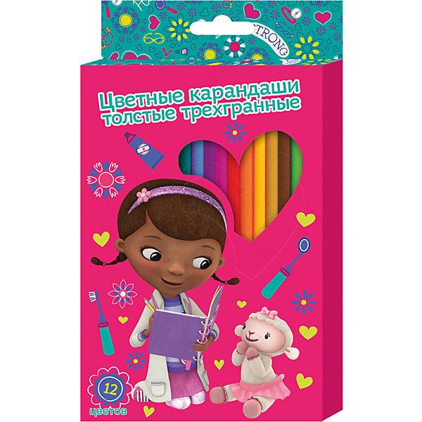 Толстые карандаши Доктор Плюшева 12 цветовДоктор Плюшева<br>Толстые цветные карандаши Доктор Плюшева идеально подходят для рисования, письма и раскрашивания. Карандаши разработаны специально для малышей: благодаря утолщенному корпусу, они особенно удобны для детской руки, поэтому юная художница может правильно их держать и без усталости рисовать. Мягкие карандаши не требуют сильного нажатия, обладают яркими цветами, изготовлены из высококачественной древесины, легко затачиваются, имеют прочный грифель, который не сломается при заточке и не раскрошится внутри корпуса, если ребёнок нечаянно уронит карандаш на пол. Карандаши безопасны при использовании по назначению. <br><br>Дополнительная информация:<br><br>- Материал: дерево.<br>- Размер упаковки: 21х12х1 см<br>- 12 цветов.<br><br>Толстые цветные карандаши Доктор Плюшева 12 цветов, можно купить в нашем магазине.<br><br>Ширина мм: 210<br>Глубина мм: 120<br>Высота мм: 10<br>Вес г: 145<br>Возраст от месяцев: 36<br>Возраст до месяцев: 108<br>Пол: Женский<br>Возраст: Детский<br>SKU: 4073978