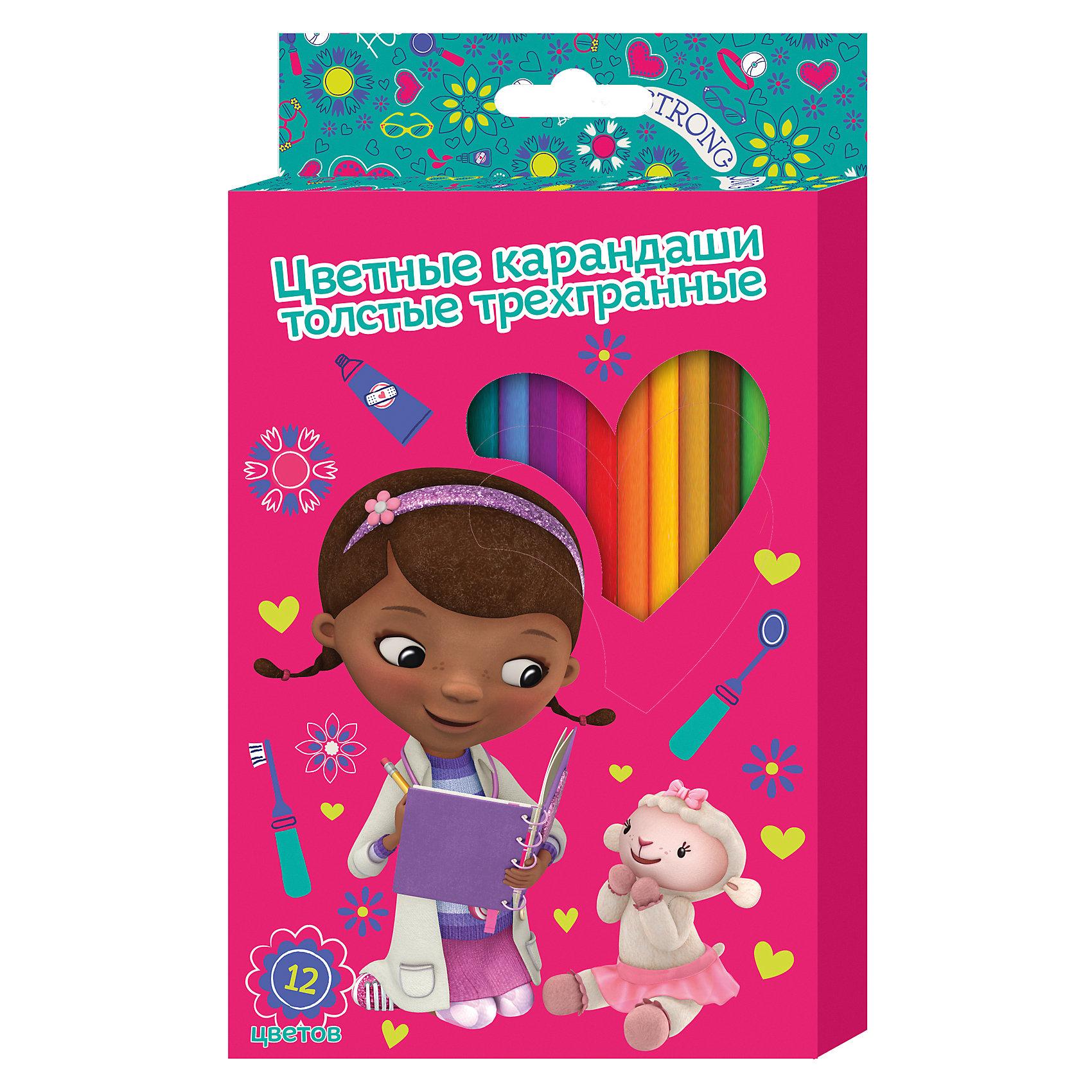 Толстые карандаши Доктор Плюшева 12 цветовТолстые цветные карандаши Доктор Плюшева идеально подходят для рисования, письма и раскрашивания. Карандаши разработаны специально для малышей: благодаря утолщенному корпусу, они особенно удобны для детской руки, поэтому юная художница может правильно их держать и без усталости рисовать. Мягкие карандаши не требуют сильного нажатия, обладают яркими цветами, изготовлены из высококачественной древесины, легко затачиваются, имеют прочный грифель, который не сломается при заточке и не раскрошится внутри корпуса, если ребёнок нечаянно уронит карандаш на пол. Карандаши безопасны при использовании по назначению. <br><br>Дополнительная информация:<br><br>- Материал: дерево.<br>- Размер упаковки: 21х12х1 см<br>- 12 цветов.<br><br>Толстые цветные карандаши Доктор Плюшева 12 цветов, можно купить в нашем магазине.<br><br>Ширина мм: 210<br>Глубина мм: 120<br>Высота мм: 10<br>Вес г: 145<br>Возраст от месяцев: 36<br>Возраст до месяцев: 108<br>Пол: Женский<br>Возраст: Детский<br>SKU: 4073978