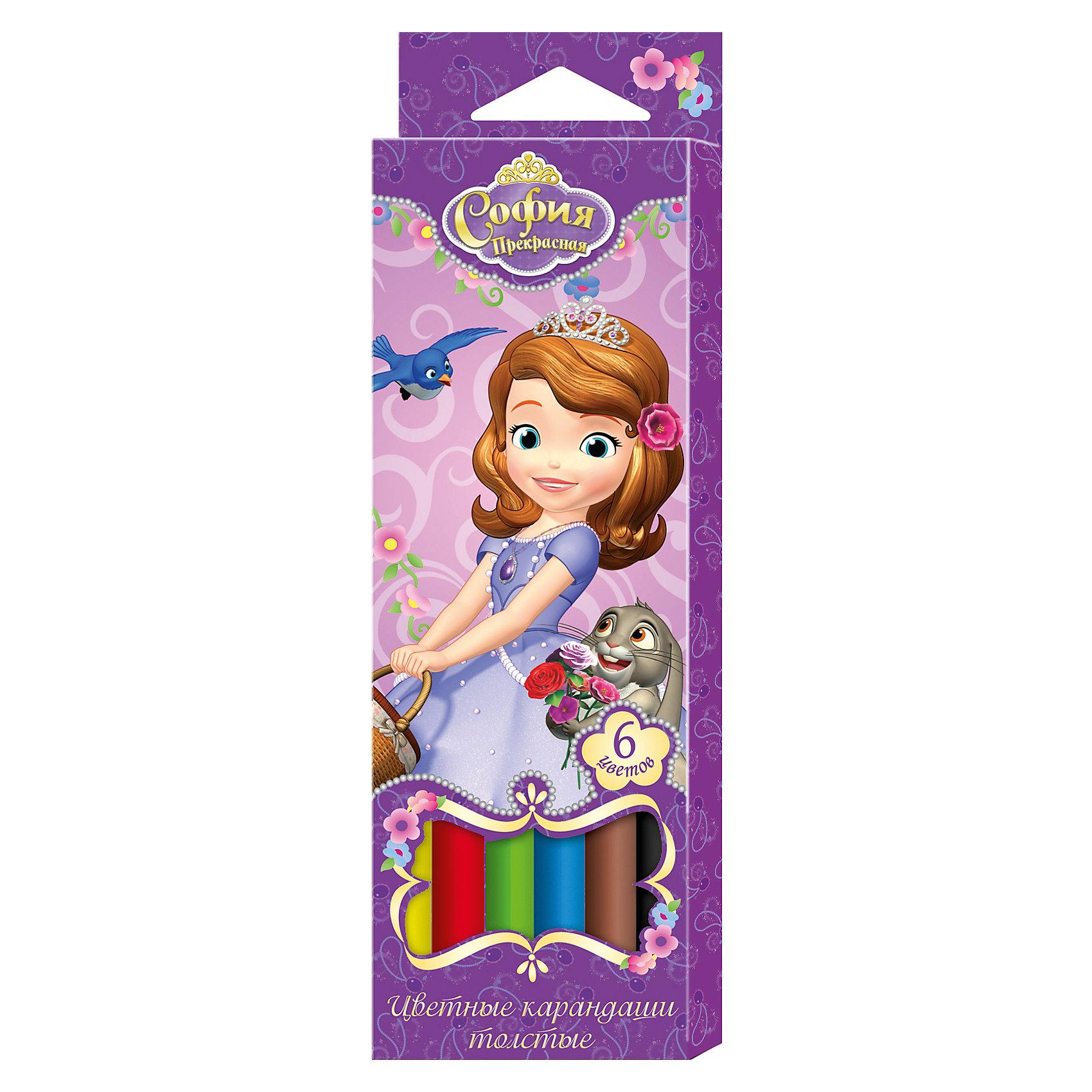 Толстые цветные карандаши София Прекрасная 6 цветов