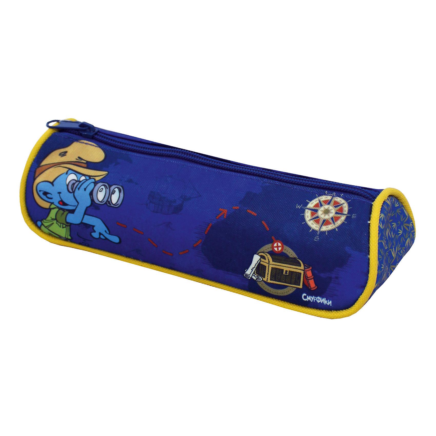 Пенал Компас, СмурфикиСмурфики<br>Стильный треугольный пенал Компас обязательно придется по душе вашему ребенку, ведь ходить в школу с таким привлекательным аксессуаром – одно удовольствие. В своем вместительном отделении на молнии он надежно сохранит все мелкие школьные принадлежности в целости и сохранности. Пенал, декорированный ярким принтом (сублимированной печатью), выполнен из износоустойчивой ткани с водонепроницаемой основой, поэтому служить будет долго.<br><br>Дополнительная информация:<br><br>- Материал: текстиль.<br>- Размер: 21х7х5,5 см.<br>- Цвет: синий. <br>- Количество отделений: 1.<br><br>Пенал Компас, Смурфики, можно купить в нашем магазине.<br><br>Ширина мм: 210<br>Глубина мм: 55<br>Высота мм: 70<br>Вес г: 97<br>Возраст от месяцев: 36<br>Возраст до месяцев: 108<br>Пол: Мужской<br>Возраст: Детский<br>SKU: 4074014