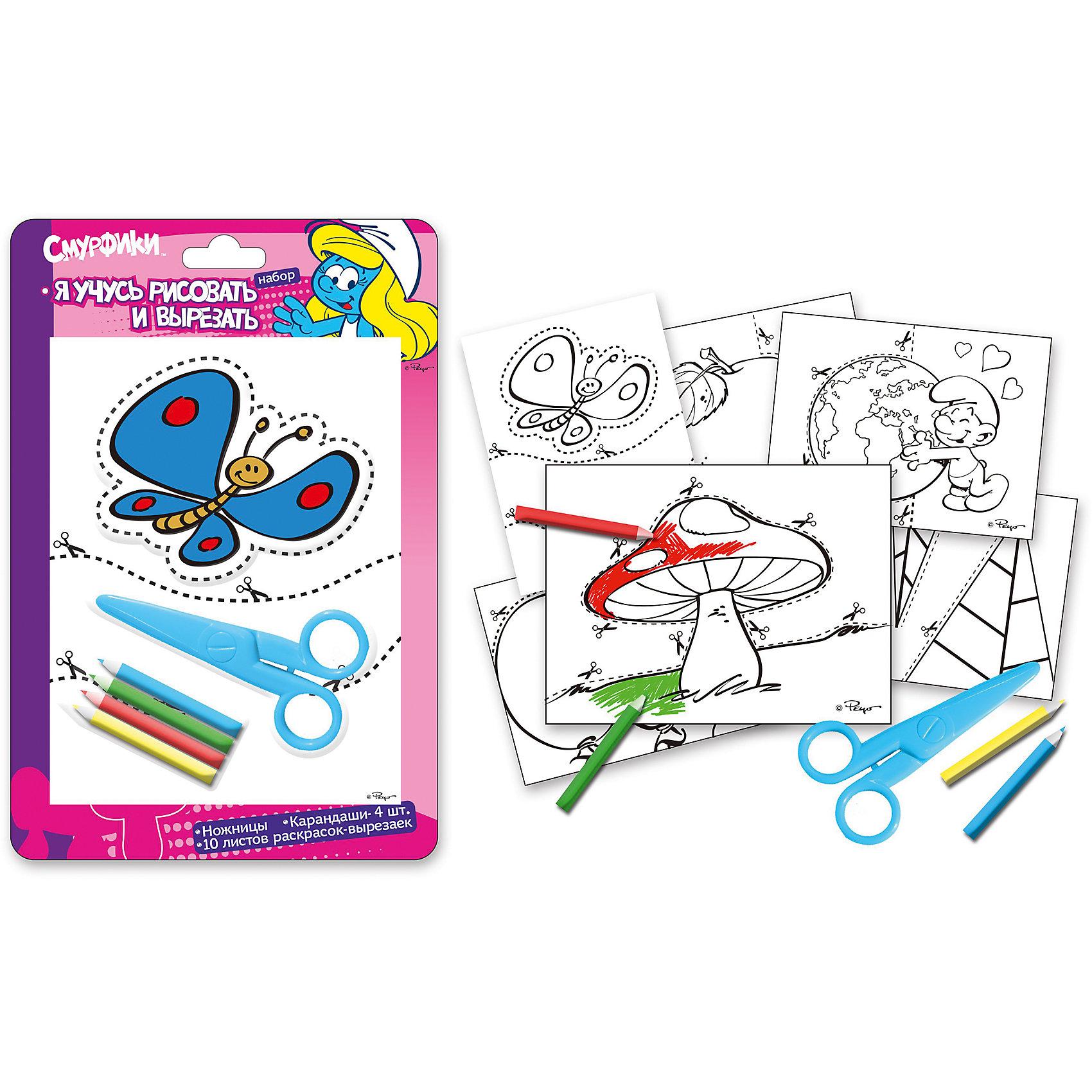 Набор Я учусь рисовать и вырезать, СмурфикиНабор «Я учусь рисовать и вырезать» поможет вам развлечь малыша и подарить ему хорошее настроение. Кроме того, рисование и вырезание картинок – не просто увлекательное, но еще и чрезвычайно полезное занятие: у малыша развиваются цветовое восприятие, координация мелких движений, мелкая моторика рук.<br>В набор входят: &#13;<br>1) Пластиковые ножницы – 1 шт. Безопасны для малыша, так как сделаны из пластика и имеют закругленные концы. Благодаря удобным пластиковым ручкам, ребенок легко освоит технику работы с ножницами, вырезая различные фигурки.&#13;<br>2) Раскраски-вырезайки – 10 листов.&#13;<br>3) Цветные карандаши – 4 шт. Обладают яркими цветами, изготовлены из высококачественной древесины, имеют прочный грифель, легко затачиваются, безопасны при использовании по назначению. &#13;<br><br>Дополнительная информация:<br><br>- Материал: пластик, дерево.<br>- Комплектация: ножницы (1 шт), раскраски (10 листов), цветные карандаши (4 шт).<br>- Размер упаковки: 26,5х17,5х1 см.<br><br>Набор Я учусь рисовать и вырезать, Смурфики, можно купить в нашем магазине.<br><br>Ширина мм: 265<br>Глубина мм: 175<br>Высота мм: 10<br>Вес г: 110<br>Возраст от месяцев: 36<br>Возраст до месяцев: 108<br>Пол: Унисекс<br>Возраст: Детский<br>SKU: 4074018