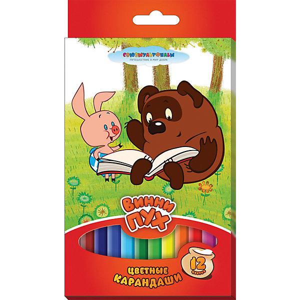 Трехгранные цветные карандаши Винни-Пух 12 цветовСоветские мультфильмы<br>В наборе «Винни-Пух» 12 цветных трехгранных карандашей, идеально подходящих для рисования, письма и раскрашивания. Карандаши разработаны специально для малышей: благодаря утолщенному корпусу и эргономичной форме, они особенно удобны для детской руки, поэтому ребенок может рисовать без усталости и правильно держать мягкий карандаш, не требующий сильного нажатия. Карандаши обладают яркими цветами, безопасны при использовании по назначению, легко затачиваются, изготовлены из высококачественной древесины, имеют прочный грифель, который не сломается при заточке и не раскрошится внутри корпуса, если ребёнок нечаянно уронит карандаш на пол. <br><br>Дополнительная информация:<br><br>- Материал: дерево.<br>- Размер упаковки: 20,5х11,5х1 см<br>- 12 цветов.<br>- Размер карандаш: 17 см.<br><br>Трехгранные цветные карандаши Винни-Пух 12 цветов, можно купить в нашем магазине.<br><br>Ширина мм: 205<br>Глубина мм: 115<br>Высота мм: 10<br>Вес г: 151<br>Возраст от месяцев: 36<br>Возраст до месяцев: 108<br>Пол: Унисекс<br>Возраст: Детский<br>SKU: 4074020