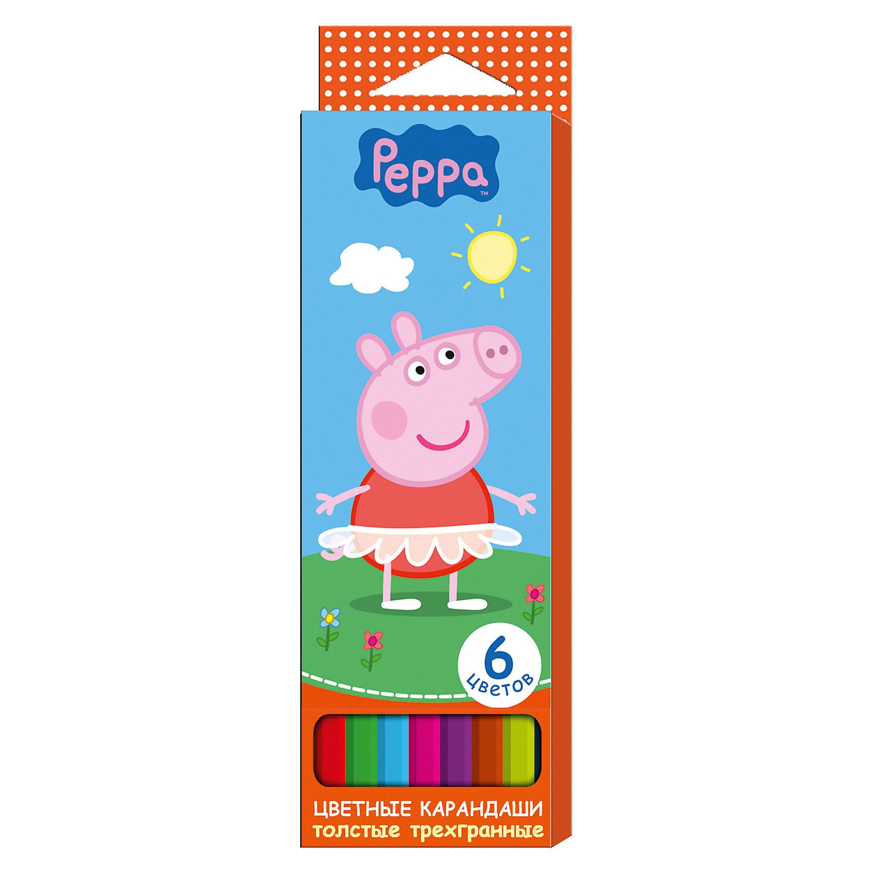 Росмэн Толстые цветные карандаши Свинка Пеппа 6 цветов цветные карандаши толстые свинка пеппа 6 цветов peppa pig