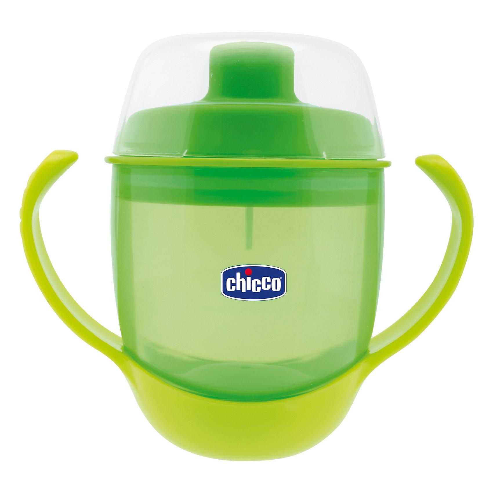 Чашка-поильник трансформер 3-в-1,непроливайка, 12мес.+, 180мл., CHICCOПоильники<br>Чашка-поильник от Chicco(Чикко) изготовлена для детей от 1 года. Мягкий носик подойдет детям, которые только учатся пить самостоятельно. Специальный клапан внутри поможет жидкости не вытекать слишком быстро. После того, как малыш научится пить сам, вы сможете снять сначала крышку с носиком, а затем и ручки. С этим поильником малыш с удовольствием сделает первые шаги к самостоятельности!<br><br>Дополнительная информация:<br>Материал: пластик<br>Объем: 180 мл<br>Вес: 170 грамм<br>Размер: 14х9х18,6 см<br>Возраст: от 1 года<br><br>Чашку-поильник трансформер Chicco(Чикко) можно приобрести в нашем интернет-магазине.<br><br>Ширина мм: 176<br>Глубина мм: 129<br>Высота мм: 83<br>Вес г: 169<br>Цвет: зеленый<br>Возраст от месяцев: 12<br>Возраст до месяцев: 36<br>Пол: Унисекс<br>Возраст: Детский<br>SKU: 4074366