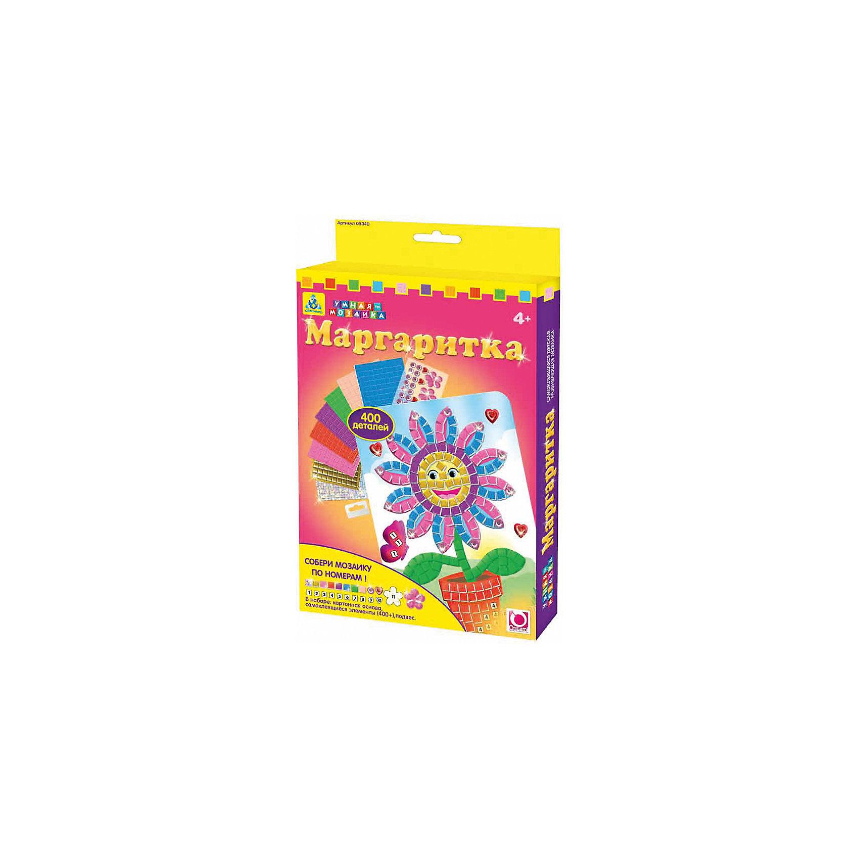 Самоклеющаяся мозаика Маргаритка, ОригамиМозаика<br>Самоклеющаяся мозаика Маргаритка, Оригами – это увлекательный набор, который поможет малышке без ножниц и клея создать красивую картину.<br>Самоклеющаяся мозаика Маргаритка отличается высоким качеством исполнения и красочным цветовым дизайном. Набор поможет в обучении цветам и цифрам, ведь подбирать и наклеивать разноцветные самоклеющиеся элементы и стразы необходимо по цифрам. Каждому цвету соответствует своя цифра, а когда малышка наклеит все самоклеющиеся элементы и стразы, по схеме, она получит оригинальное разноцветное изображение маргаритки. Готовую картинку можно повесить на стену, прикрепив ее на подвес, а из оставшихся элементов создать свою собственную мозаику. Яркая мозаика поможет детям сделать шаги в мир цвета, формы и фантазии, сделает пальцы послушными, научит азам моделирования, разовьёт мелкую моторику рук, внимательность и усидчивость, сформирует наглядно-образное и логическое мышление.<br><br>Дополнительная информация:<br><br>- В наборе: картонная основа для мозаики, более 400 самоклеющихся элементов и страз, подвес<br>- Размер картинки: 20х14 см.<br>- Размер упаковки: 14,6х1,9х23,5 см.<br>- Вес упаковки: 104 гр.<br><br>Самоклеющуюся мозаику Маргаритка, Оригами можно купить в нашем интернет-магазине.<br><br>Ширина мм: 146<br>Глубина мм: 19<br>Высота мм: 235<br>Вес г: 104<br>Возраст от месяцев: 48<br>Возраст до месяцев: 96<br>Пол: Женский<br>Возраст: Детский<br>SKU: 4075989