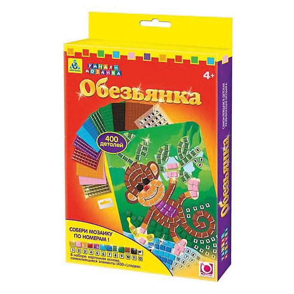 Самоклеющаяся мозаика Обезьянка, ОригамиМозаика детская<br>Самоклеющаяся мозаика Обезьянка, Оригами – это увлекательный набор, который поможет ребенку без ножниц и клея создать красивую картину.<br>Самоклеющаяся мозаика Обезьянка отличается высоким качеством исполнения и красочным цветовым дизайном. Набор поможет в обучении цветам и цифрам, ведь подбирать и наклеивать разноцветные самоклеющиеся элементы и стразы необходимо по цифрам. Каждому цвету соответствует своя цифра, а когда ребенок наклеит все самоклеющиеся элементы и стразы, по схеме, она получит оригинальное разноцветное изображение обезьянки. Готовую картинку можно повесить на стену, прикрепив ее на подвес, а из оставшихся элементов создать свою собственную мозаику. Яркая мозаика поможет детям сделать шаги в мир цвета, формы и фантазии, сделает пальцы послушными, научит азам моделирования, разовьёт мелкую моторику рук, внимательность и усидчивость, сформирует наглядно-образное и логическое мышление.<br><br>Дополнительная информация:<br><br>- В наборе: картонная основа для мозаики, более 400 самоклеющихся элементов и страз, подвес<br>- Размер картинки: 20х14 см.<br>- Размер упаковки: 14,6х1,9х23,5 см.<br>- Вес упаковки: 104 гр.<br><br>Самоклеющуюся мозаику Обезьянка, Оригами можно купить в нашем интернет-магазине.<br>Ширина мм: 146; Глубина мм: 19; Высота мм: 235; Вес г: 104; Возраст от месяцев: 48; Возраст до месяцев: 96; Пол: Женский; Возраст: Детский; SKU: 4075990;