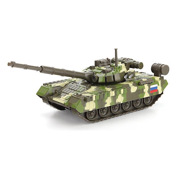 Танк T-90, со светом и звуком, ТЕХНОПАРК, в ассортиментеВоенный транспорт<br>Танк T-90, со светом и звуком, ТЕХНОПАРК, в ассортименте – это тщательно проработанная игровая модель.<br>Модель ТАНК T-90 - миниатюрная копия настоящего танка. У танка вращается башня, опускается и поднимается пушка, в кабину экипажа открывается крышка люка. Боевая машина подсвечивается и издает звуковые эффекты. Играя с такой игрушкой, ребенок ощутит себя настоящим танкистом, на поле боя. Увлекательная сюжетно-ролевая игра не только развлекает ребёнка, но и вырабатывает такие практические качества, как ловкость и слаженность движений рук, сноровку и координацию, развивает мелкую моторику пальцев рук, заставляет подвигаться и пофантазировать.<br><br>Дополнительная информация:<br><br>- Цвет в ассортименте<br>- Цвет: зеленый или камуфляж<br>- Тип батареек: 3 батарейки типа LR41 (в комплекте)<br>- Материал: пластик<br>- Размер упаковки: 31х14х15 см.<br>- Вес: 530 гр.<br>- ВНИМАНИЕ! Данный товар представлен в ассортименте. К сожалению, предварительный выбор невозможен. При заказе нескольких единиц данного товара, возможно получение одинаковых<br><br>Танк T-90, со светом и звуком, ТЕХНОПАРК, в ассортименте можно купить в нашем интернет-магазине.<br>Ширина мм: 310; Глубина мм: 150; Высота мм: 140; Вес г: 530; Возраст от месяцев: 36; Возраст до месяцев: 120; Пол: Мужской; Возраст: Детский; SKU: 4077241;