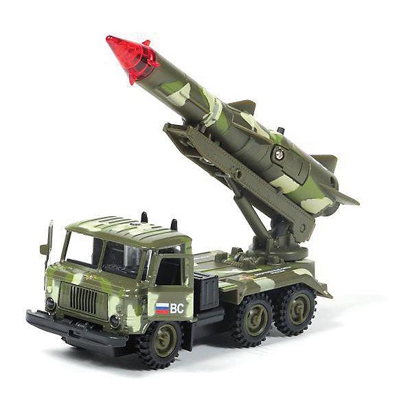 Машина ГАЗ 66: Ракета Военные силы, 1:43, со светом и звуком, ТЕХНОПАРКВоенный транспорт<br>Характеристики:<br><br>• тип игрушки: машина;<br>• возраст: от 3 лет;<br>• размер: 16х6х21 см;<br>•  масштаб: 1:43;<br>• цвет: серый;<br>• материал: пластик, металл;<br>• бренд: Технопарк;<br>• страна производителя: Китай.<br><br>Машина Технопарк «ГАЗ 66: Ракета Военные силы»  выглядит в точной копии своего прототипа. Такая игрушка понравится не только ребёнку, но и взрослому коллекционеру. Машина имеет встроенный инерционный механизм, благодаря которому машинка Газ легко и быстро устремится вперёд, достаточно только оттянуть машинку назад и отпустить. У машинки открываются двери в кабине. Держатель ракеты может подниматься и поворачиваться вокруг своей оси. Машина снабжена световыми и звуковыми эффектами, которые приятно порадуют любого, сделав игру увлекательнее и интереснее. <br>Тематические игры с интересными сюжетами разбудят воображение ребёнка, а манипуляции с игрушкой потренируют мелкую моторику пальцев рук. Масштабные модели от компании «Технопарк» отличаются качественными ударопрочными материалами, продлевающими долговечность изделия тщательным исполнением со вниманием ко всем деталям, и имеют требуемые сертификаты соответствия для детских игрушек.<br>Машину Технопарк «ГАЗ 66: Ракета Военные силы» можно купить в нашем интернет-магазине.<br>Ширина мм: 210; Глубина мм: 60; Высота мм: 160; Вес г: 220; Возраст от месяцев: 36; Возраст до месяцев: 120; Пол: Мужской; Возраст: Детский; SKU: 4077251;
