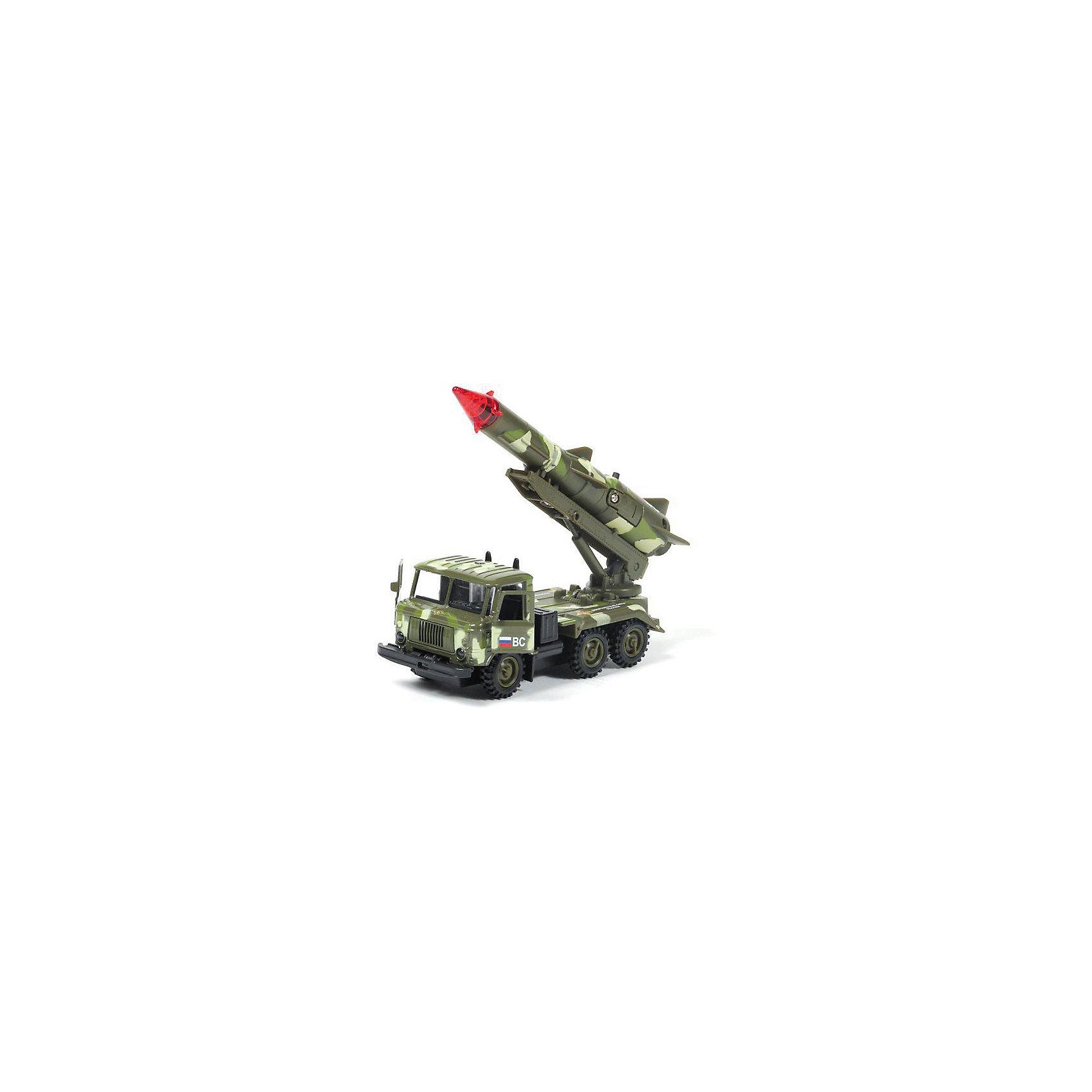 Машина ГАЗ 66: Ракета Военные силы, 1:43, со светом и звуком, ТЕХНОПАРКВоенный транспорт<br>Машина ГАЗ 66: Ракета Военные силы, 1:43, со светом и звуком, ТЕХНОПАРК – это тщательно проработанная игровая и коллекционная модель.<br>Коллекционная модель ГАЗ 66: Ракета Военные силы - миниатюрная копия настоящего автомобиля. Модель, оборудованная светящейся боеголовкой и инерционным механизмом, украсит любую коллекцию моделей военной техники. Помимо светового, она оснащена еще и звуковым модулем, издающим характерный сигнал. Ракета поднимается и опускается. Двери машины открываются. Корпус машины металлический.<br><br>Дополнительная информация:<br><br>- Масштаб: 1:43<br>- Материал: металл, пластик<br>- Цвет: хаки<br>- На батарейках<br>- Размер упаковки: 21х15х6см.<br>- Вес: 220 гр.<br><br>Машину ГАЗ 66: Ракета Военные силы, 1:43, со светом и звуком, ТЕХНОПАРК можно купить в нашем интернет-магазине.<br><br>Ширина мм: 210<br>Глубина мм: 60<br>Высота мм: 160<br>Вес г: 220<br>Возраст от месяцев: 36<br>Возраст до месяцев: 120<br>Пол: Мужской<br>Возраст: Детский<br>SKU: 4077251