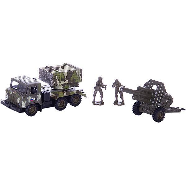 Машина ГАЗ 66 Военный, с пушкой на прицеле, 1:43, со светом и звуком, ТЕХНОПАРКВоенный транспорт<br>Характеристики:<br><br>• тип игрушки: машина;<br>• возраст: от 3 лет;<br>• размер: 33х8х14 см;<br>•  масштаб: 1:43;<br>•  режим работы: на батарейках;<br>•  комплектация: машина, пушка, 2 фигурки;<br>• цвет: камуфляж;<br>• материал: пластик, металл;<br>• бренд: Технопарк;<br>• страна производителя: Китай.<br><br>Машина Технопарк «ГАЗ 66: Военный, с пушкой на прицеле» - тщательно проработанная игровая и коллекционная модель. Дверцы кабины и капот машинки открываются. Установка «Град» поднимается и поворачивается на 360 градусов. Между кабиной и кузовом расположено запасное колесо, которое также может быть использовано по назначению. При нажатии кнопки на установке и на пушке начинают светиться огоньки, при этом слышны звуки боя и приказы командира. При нажатии кнопки на пушке звучат реалистичные звуки выстрелов. Машинка оснащена инерционным ходом. Ее необходимо отвести назад, затем отпустить — и она быстро поедет вперед. Прорезиненные колеса обеспечивают надежное сцепление с любой гладкой поверхностью.<br>Тематические игры с интересными сюжетами разбудят воображение ребёнка, а манипуляции с игрушкой потренируют мелкую моторику пальцев рук. Масштабные модели от компании «Технопарк» отличаются качественными ударопрочными материалами, продлевающими долговечность изделия тщательным исполнением со вниманием ко всем деталям, и имеют требуемые сертификаты соответствия для детских игрушек.<br>Машину Технопарк «ГАЗ 66: Военный, с пушкой на прицеле» можно купить в нашем интернет-магазине.<br><br>Ширина мм: 330<br>Глубина мм: 80<br>Высота мм: 140<br>Вес г: 320<br>Возраст от месяцев: 36<br>Возраст до месяцев: 120<br>Пол: Мужской<br>Возраст: Детский<br>SKU: 4077254