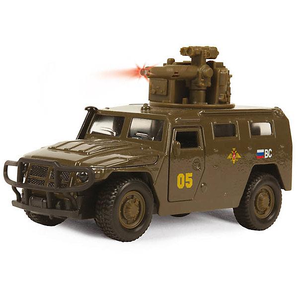 Машина ГАЗ ТИГР, 1:43, со светом и звуком, ТЕХНОПАРКВоенный транспорт<br>Машина ГАЗ ТИГР, 1:43, со светом и звуком, ТЕХНОПАРК – это тщательно проработанная игровая и коллекционная модель.<br>Машинка ТехноПарк ГАЗ Тигр, выполненная из металла и пластика, станет любимой игрушкой вашего малыша. Игрушка представляет собой военный внедорожник ГАЗ Тигр, оснащенный открывающимися дверьми и капотом, а также вращающейся башней с пушкой. При нажатии кнопки на пушке кончик дула начинает светиться, при этом слышны звуки стрельбы и команды Огонь! В атаку!. Ваш ребенок будет часами играть с этой машинкой, придумывая различные истории. Порадуйте его таким замечательным подарком! Модель можно использовать как для игры, так и для коллекционирования.<br><br>Дополнительная информация:<br><br>- Масштаб: 1:43<br>- Материал: металл, пластик<br>- Работает от батареек<br>- Размер упаковки: 19х15х7см.<br>- Вес: 300 гр.<br><br>Машину ГАЗ ТИГР, 1:43, со светом и звуком, ТЕХНОПАРК можно купить в нашем интернет-магазине.<br><br>Ширина мм: 190<br>Глубина мм: 70<br>Высота мм: 160<br>Вес г: 300<br>Возраст от месяцев: 36<br>Возраст до месяцев: 120<br>Пол: Мужской<br>Возраст: Детский<br>SKU: 4077255
