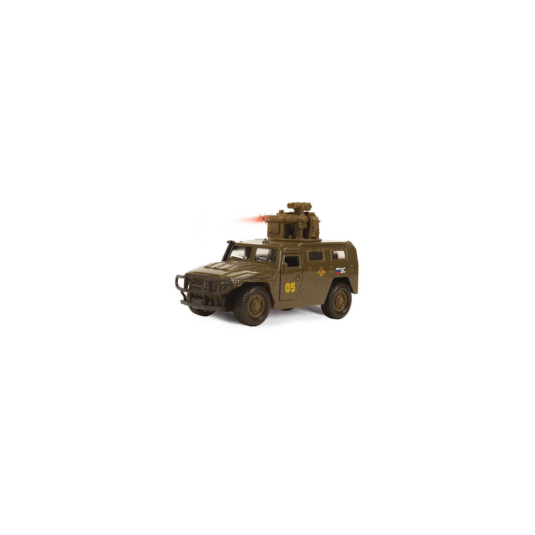 Машина ГАЗ ТИГР, 1:43, со светом и звуком, ТЕХНОПАРККоллекционные модели<br>Машина ГАЗ ТИГР, 1:43, со светом и звуком, ТЕХНОПАРК – это тщательно проработанная игровая и коллекционная модель.<br>Машинка ТехноПарк ГАЗ Тигр, выполненная из металла и пластика, станет любимой игрушкой вашего малыша. Игрушка представляет собой военный внедорожник ГАЗ Тигр, оснащенный открывающимися дверьми и капотом, а также вращающейся башней с пушкой. При нажатии кнопки на пушке кончик дула начинает светиться, при этом слышны звуки стрельбы и команды Огонь! В атаку!. Ваш ребенок будет часами играть с этой машинкой, придумывая различные истории. Порадуйте его таким замечательным подарком! Модель можно использовать как для игры, так и для коллекционирования.<br><br>Дополнительная информация:<br><br>- Масштаб: 1:43<br>- Материал: металл, пластик<br>- Работает от батареек<br>- Размер упаковки: 19х15х7см.<br>- Вес: 300 гр.<br><br>Машину ГАЗ ТИГР, 1:43, со светом и звуком, ТЕХНОПАРК можно купить в нашем интернет-магазине.<br><br>Ширина мм: 190<br>Глубина мм: 70<br>Высота мм: 160<br>Вес г: 300<br>Возраст от месяцев: 36<br>Возраст до месяцев: 120<br>Пол: Мужской<br>Возраст: Детский<br>SKU: 4077255